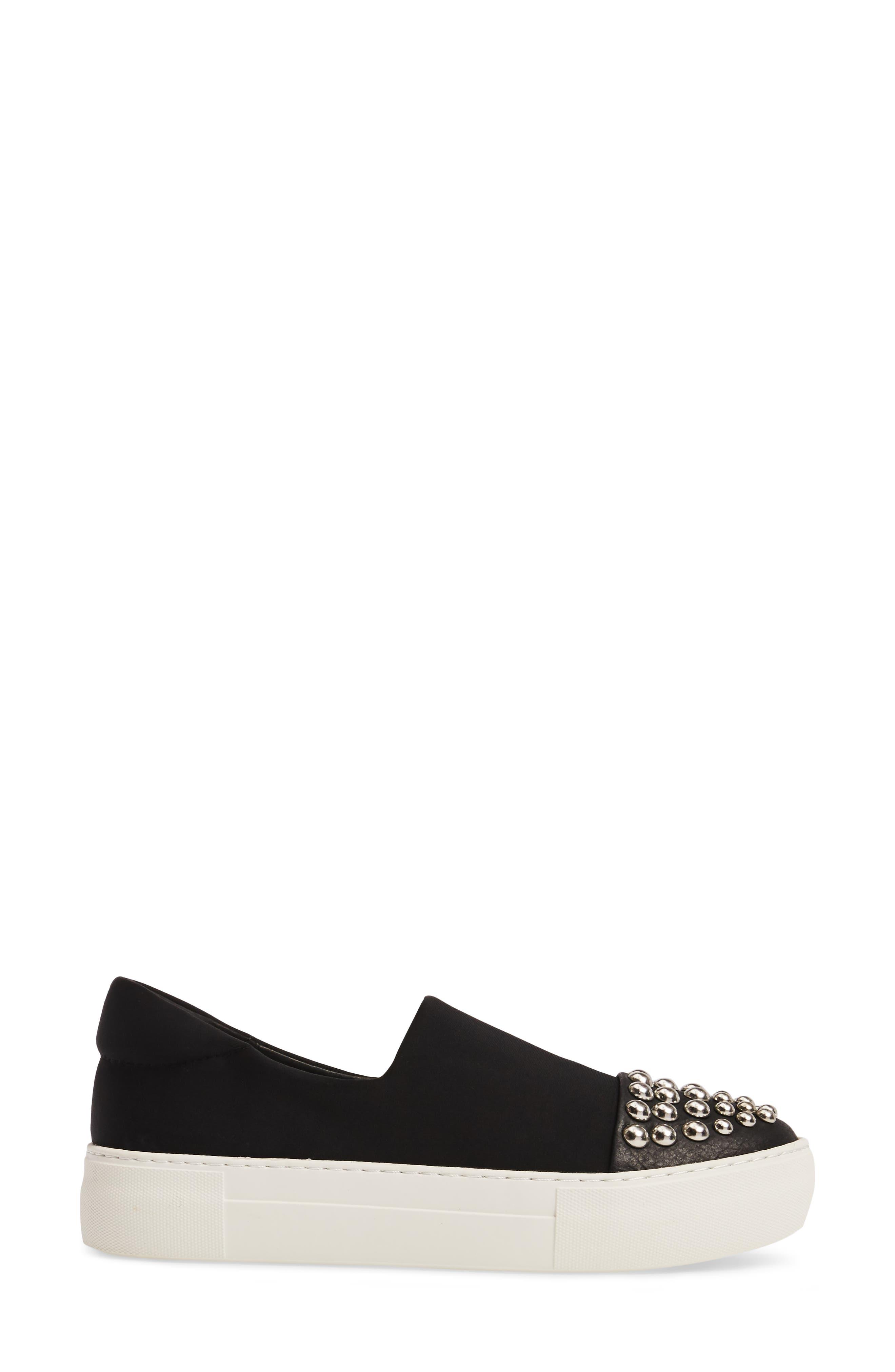 Aristocrat Studded Cap Toe Slip-On,                             Alternate thumbnail 3, color,                             Black Fabric