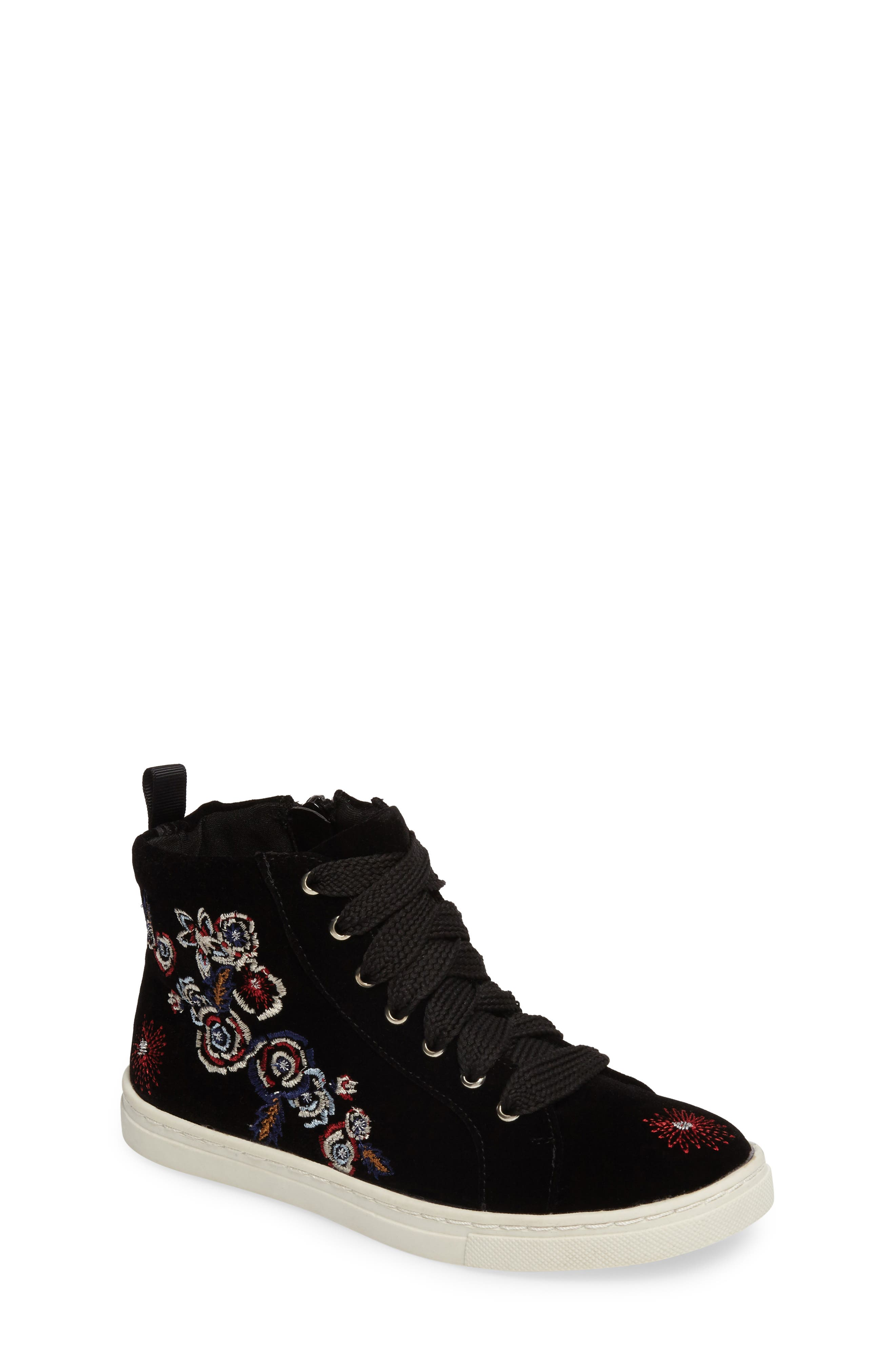 Zowen Embroidered High Top Sneaker,                         Main,                         color, Black Multi Floral