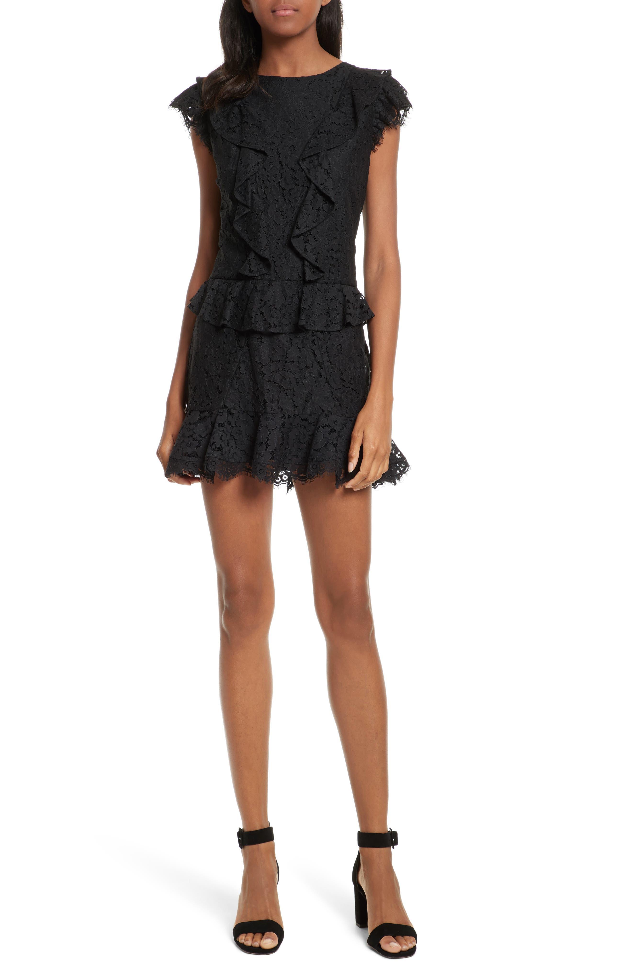 Acostas Ruffle & Lace Dress,                             Main thumbnail 1, color,                             Caviar