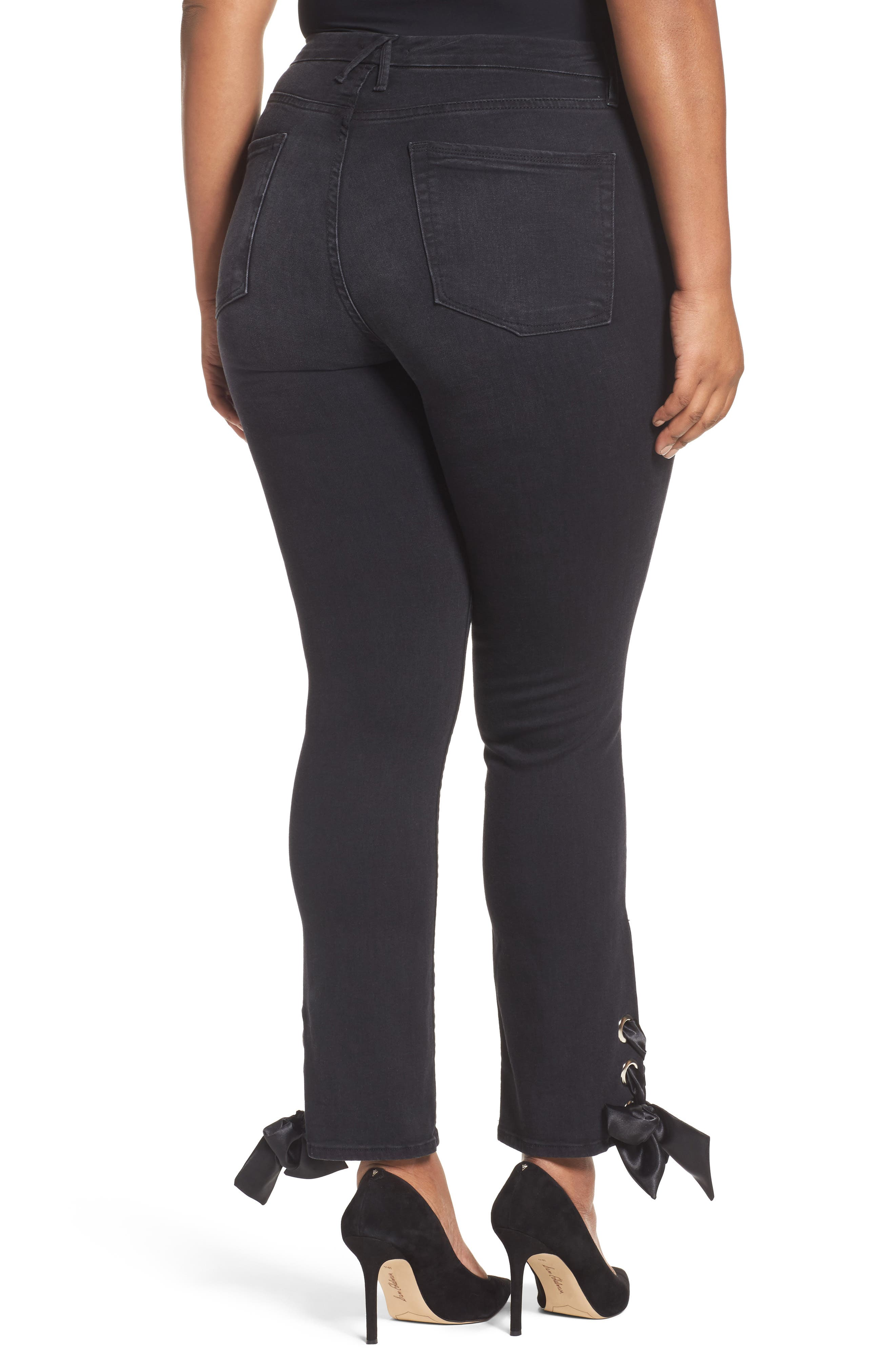 Alternate Image 7  - Good American Good Straight Ankle Lace Skinny Jeans (Black 010) (Extended Sizes)