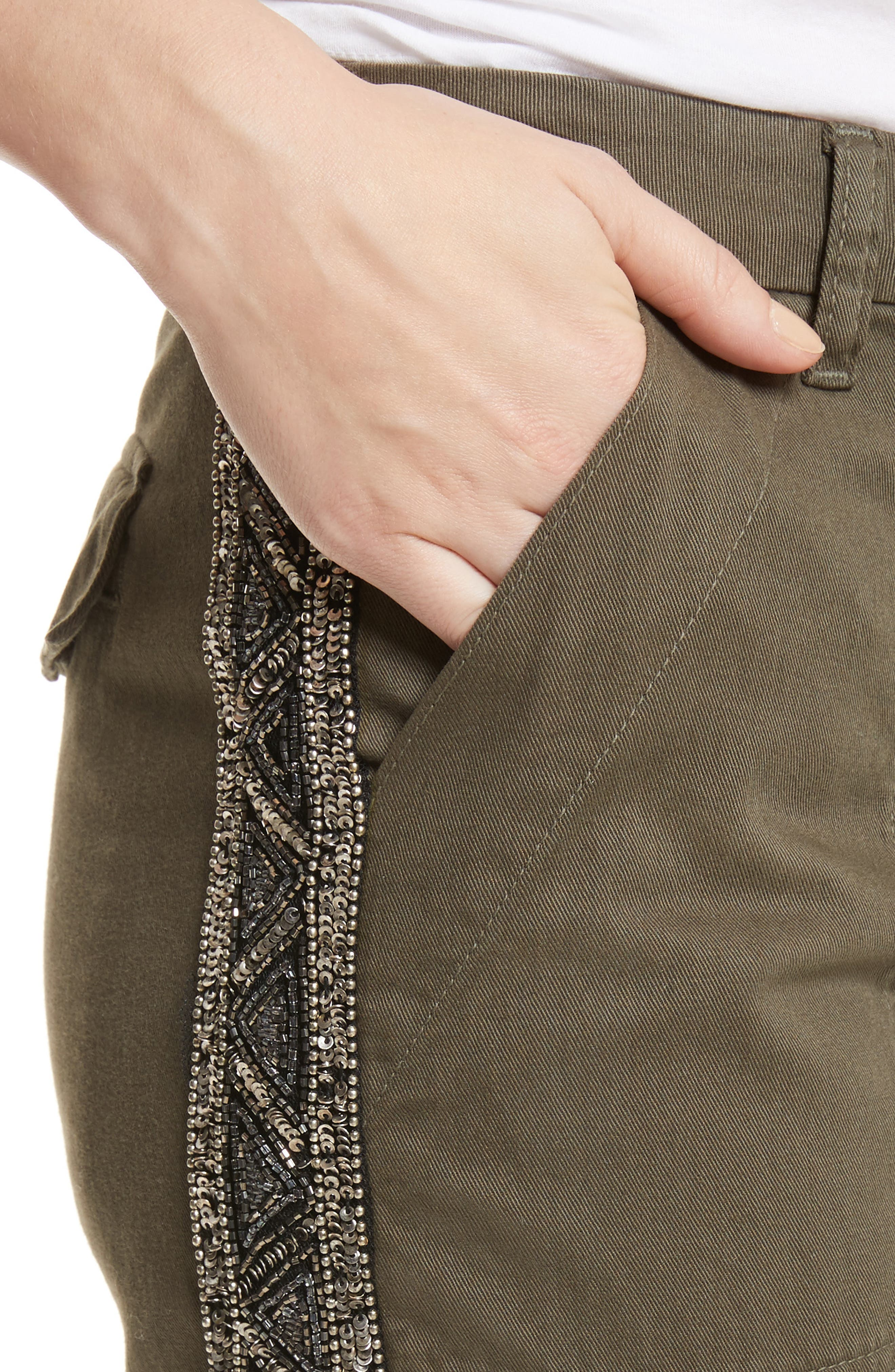 Embellished Cargo Pants,                             Alternate thumbnail 4, color,                             Fatigue