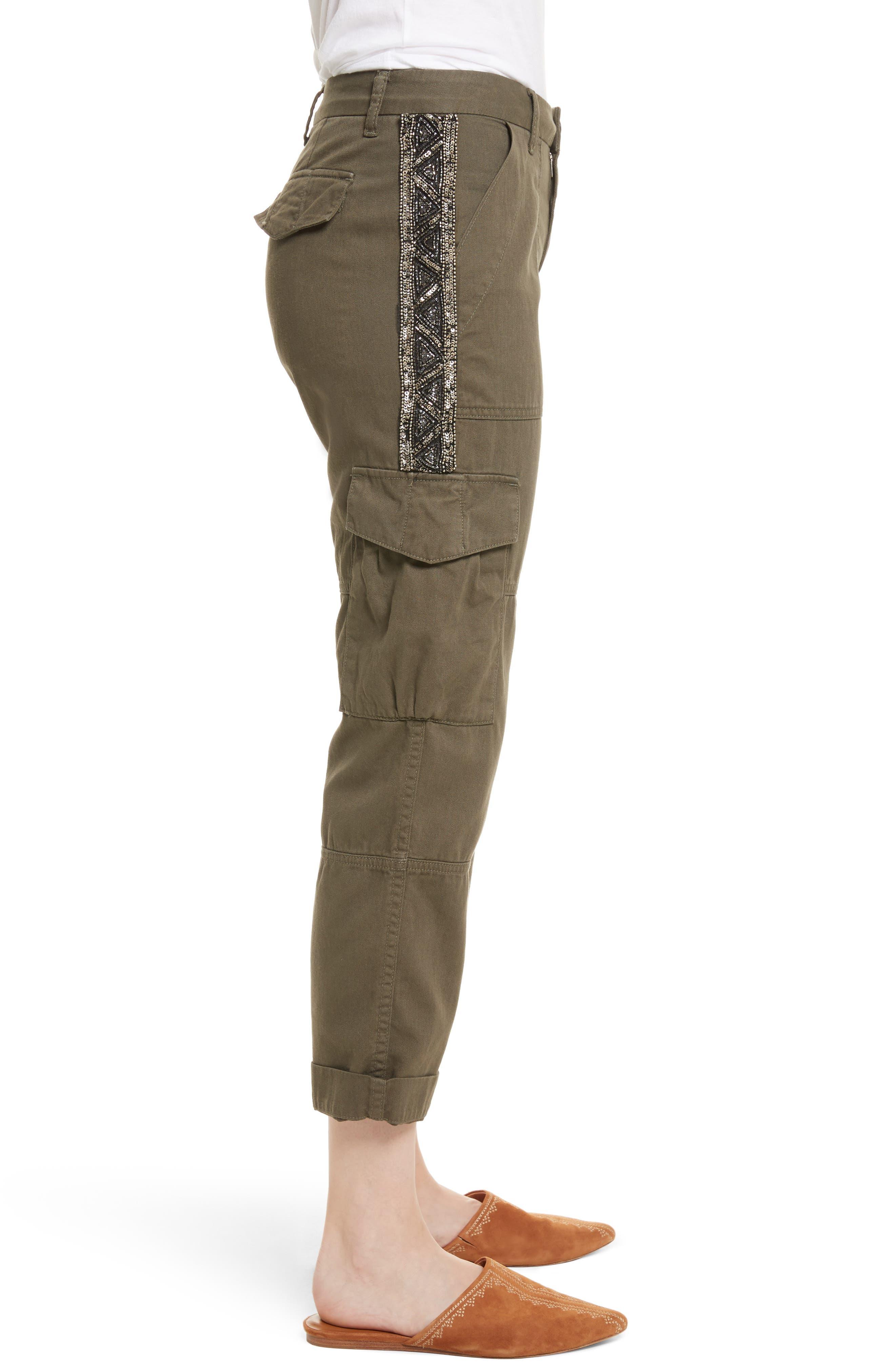 Embellished Cargo Pants,                             Alternate thumbnail 3, color,                             Fatigue