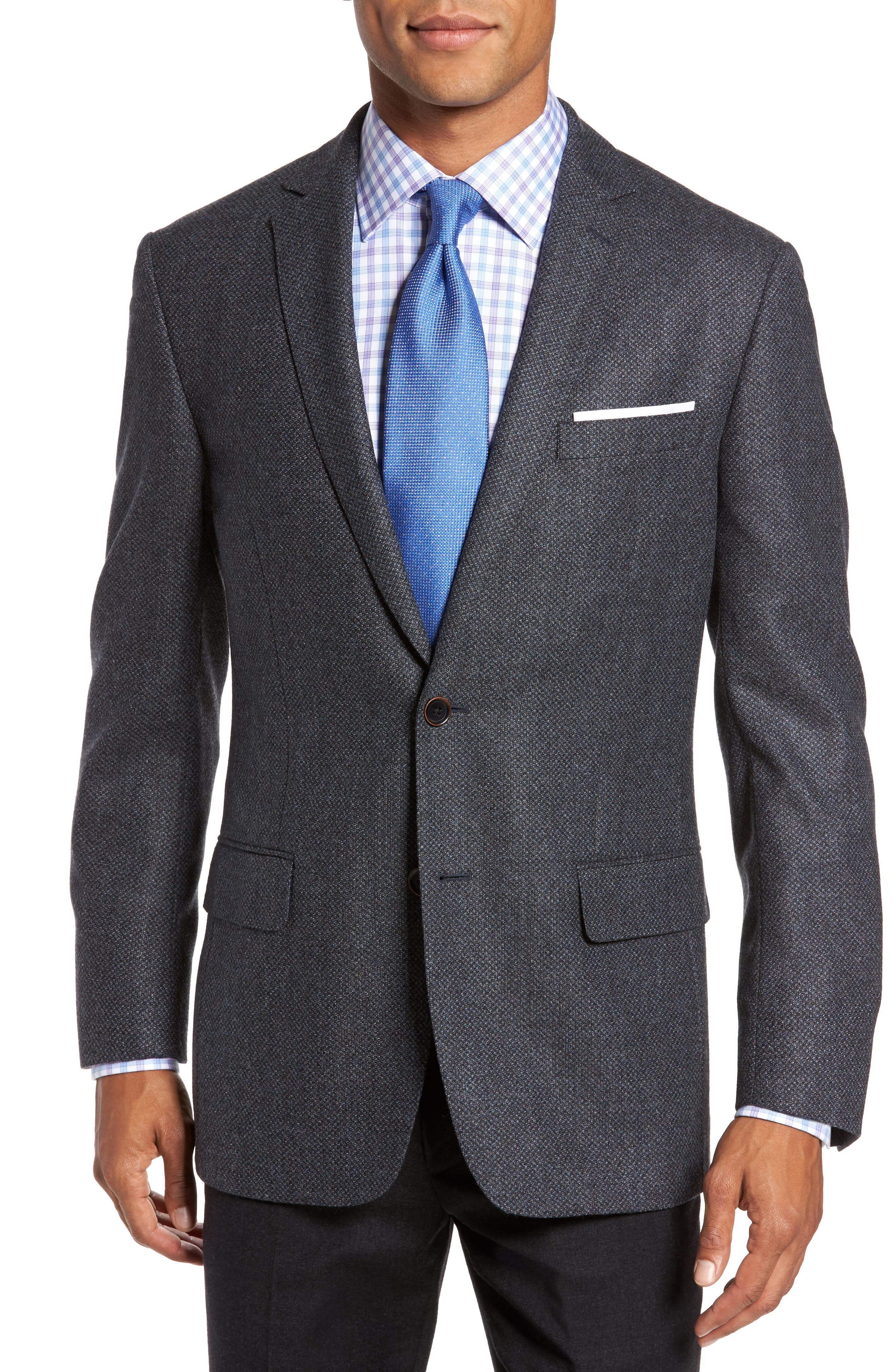 Classic Fit Check Wool Sport Coat,                         Main,                         color, Dark Blue