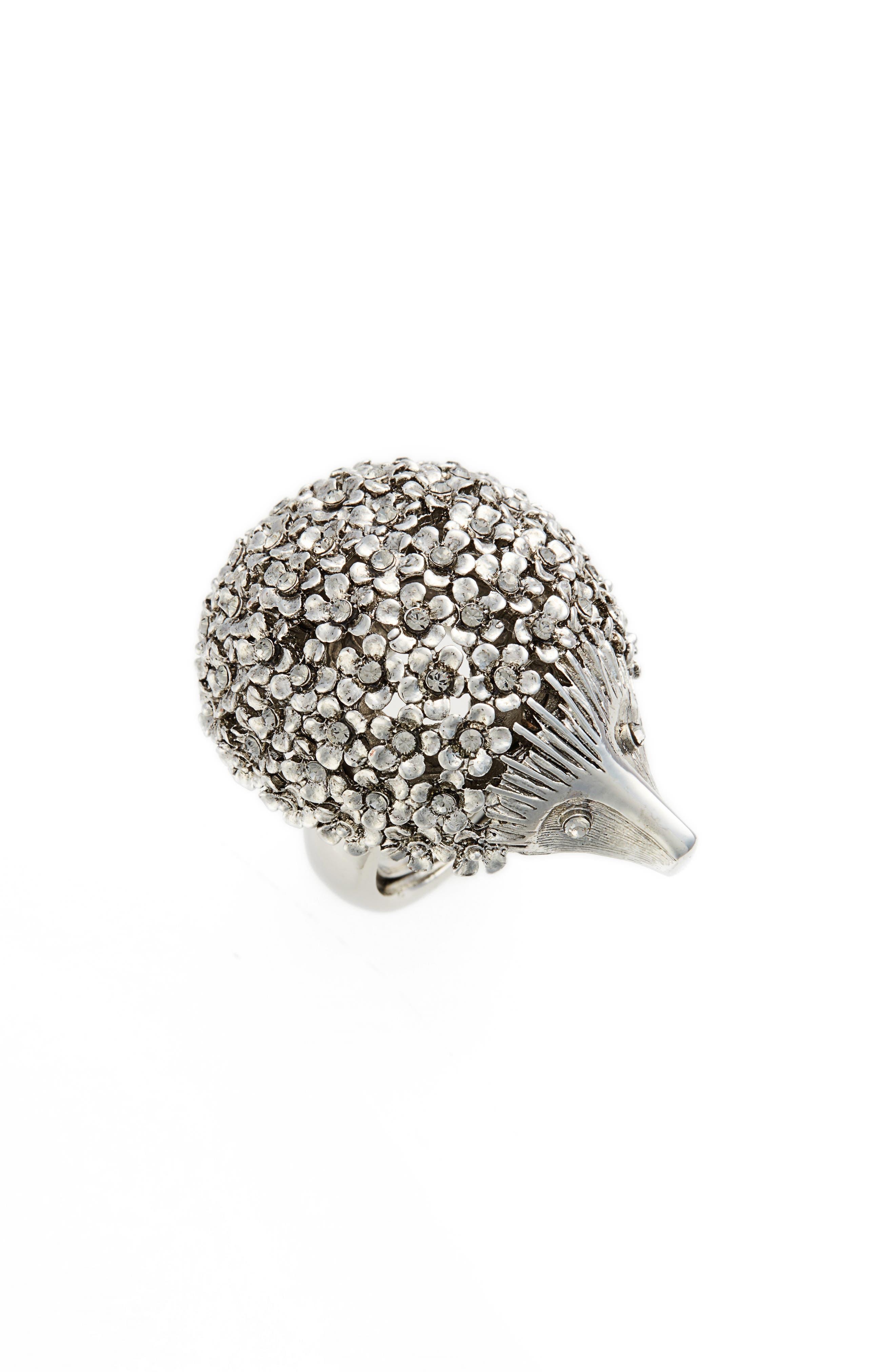 Oscar de la Renta Crystal Hedgehog Ring