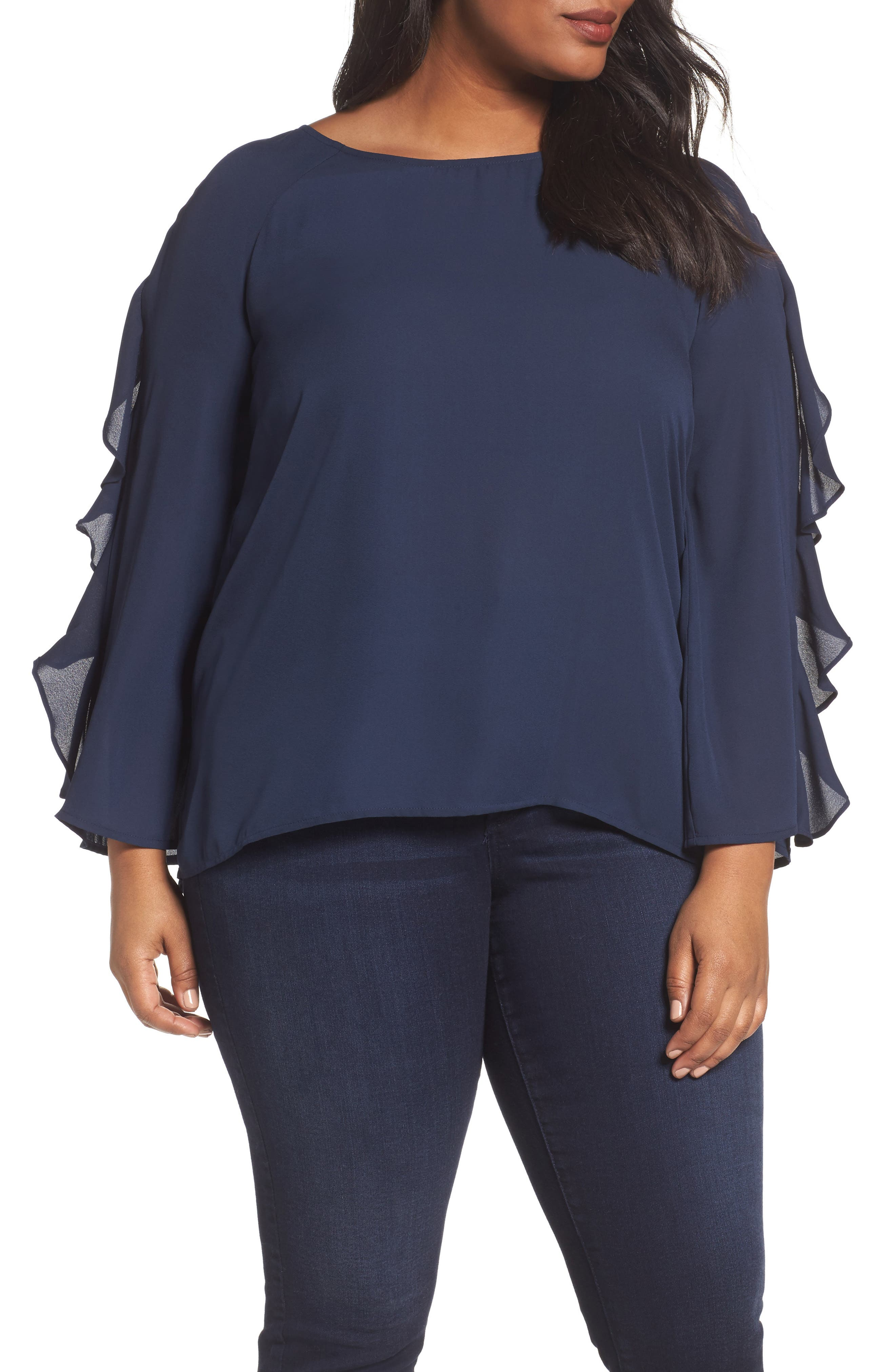 London Times Ruffle Bell Sleeve Blouse (Plus Size)