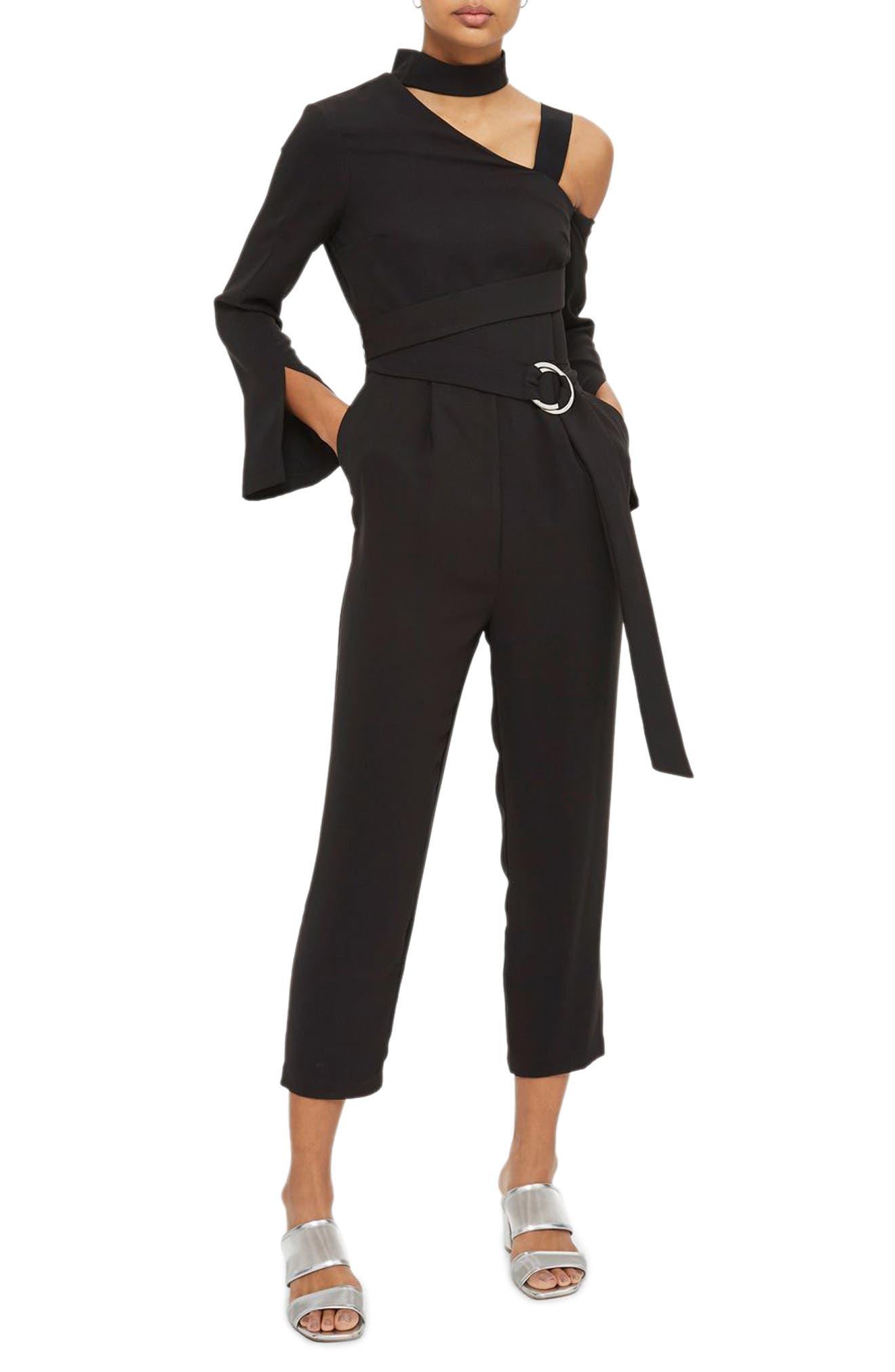 Choker One-Shoulder Jumpsuit,                             Main thumbnail 1, color,                             Black