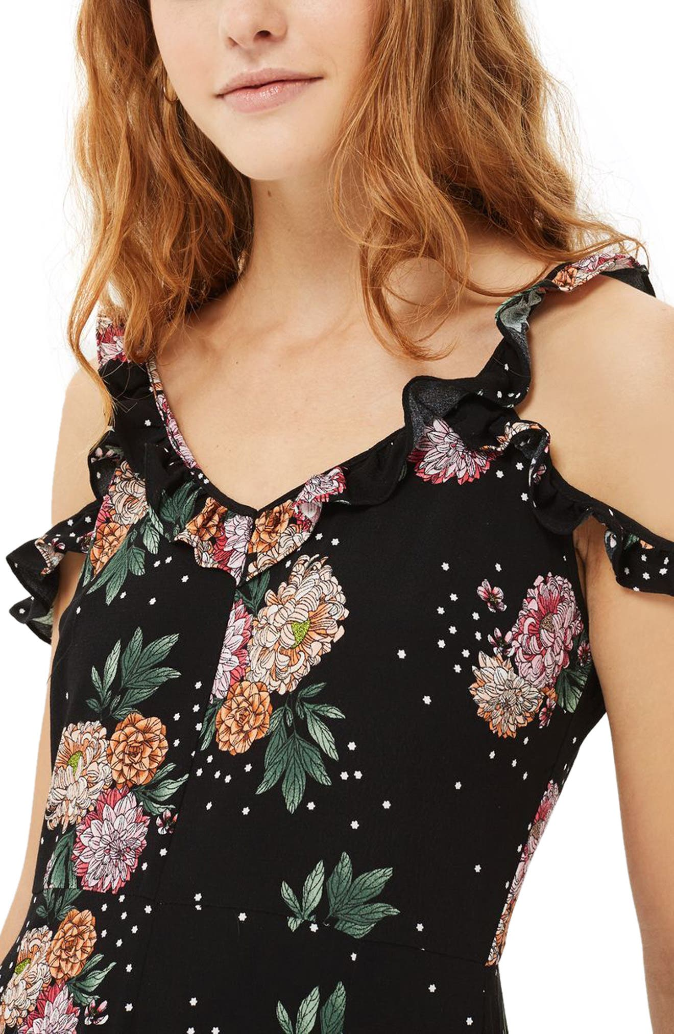 Alternate Image 1 Selected - Topshop Floral Ruffle Jumpsuit (Petite)