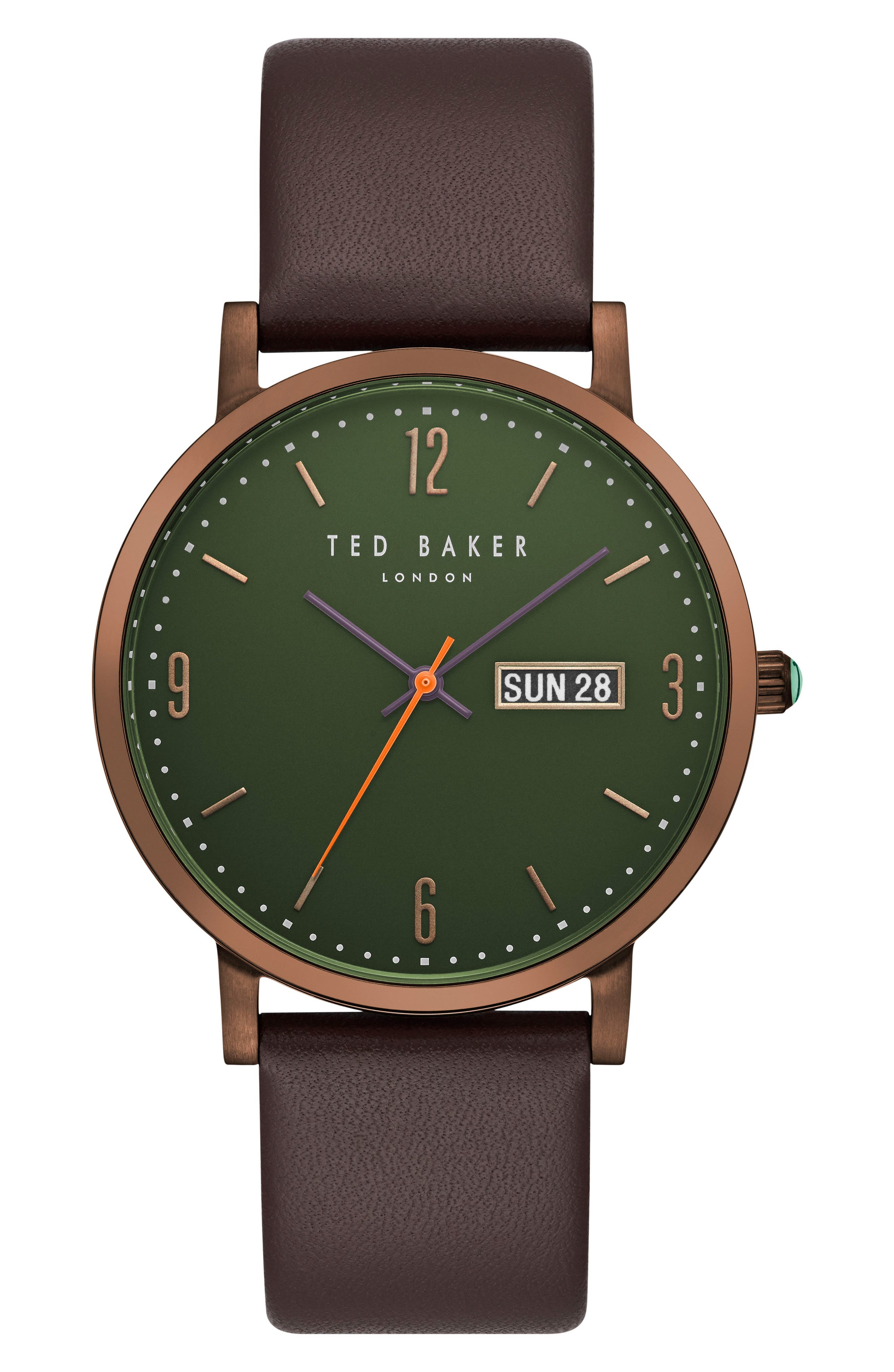 Grant Leather Strap Watch, 40mm,                         Main,                         color, Green/ Dark Brown
