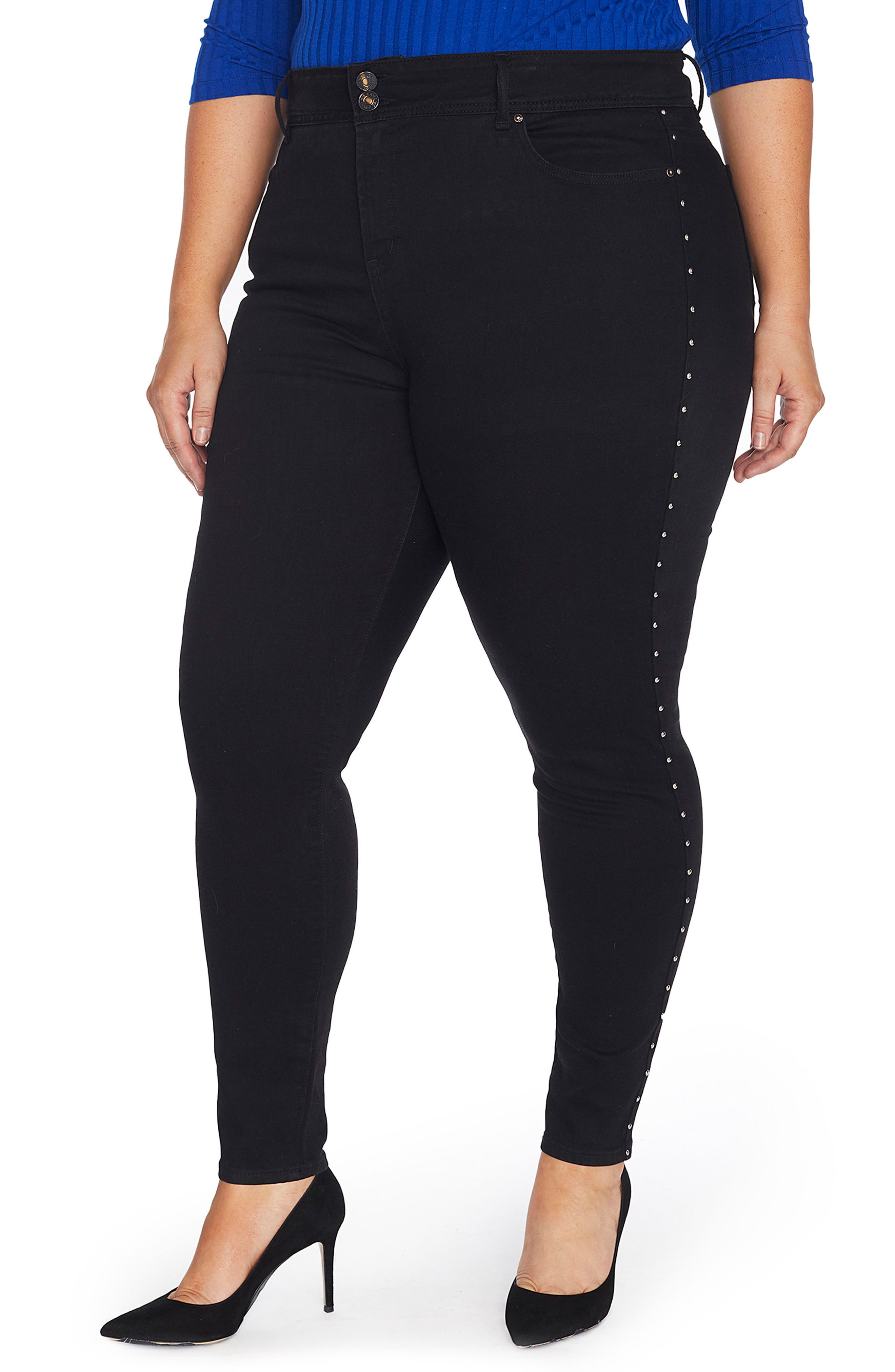 Alternate Image 1 Selected - REBEL WILSON X ANGELS Studded High Waist Skinny Jeans (Plus Size)