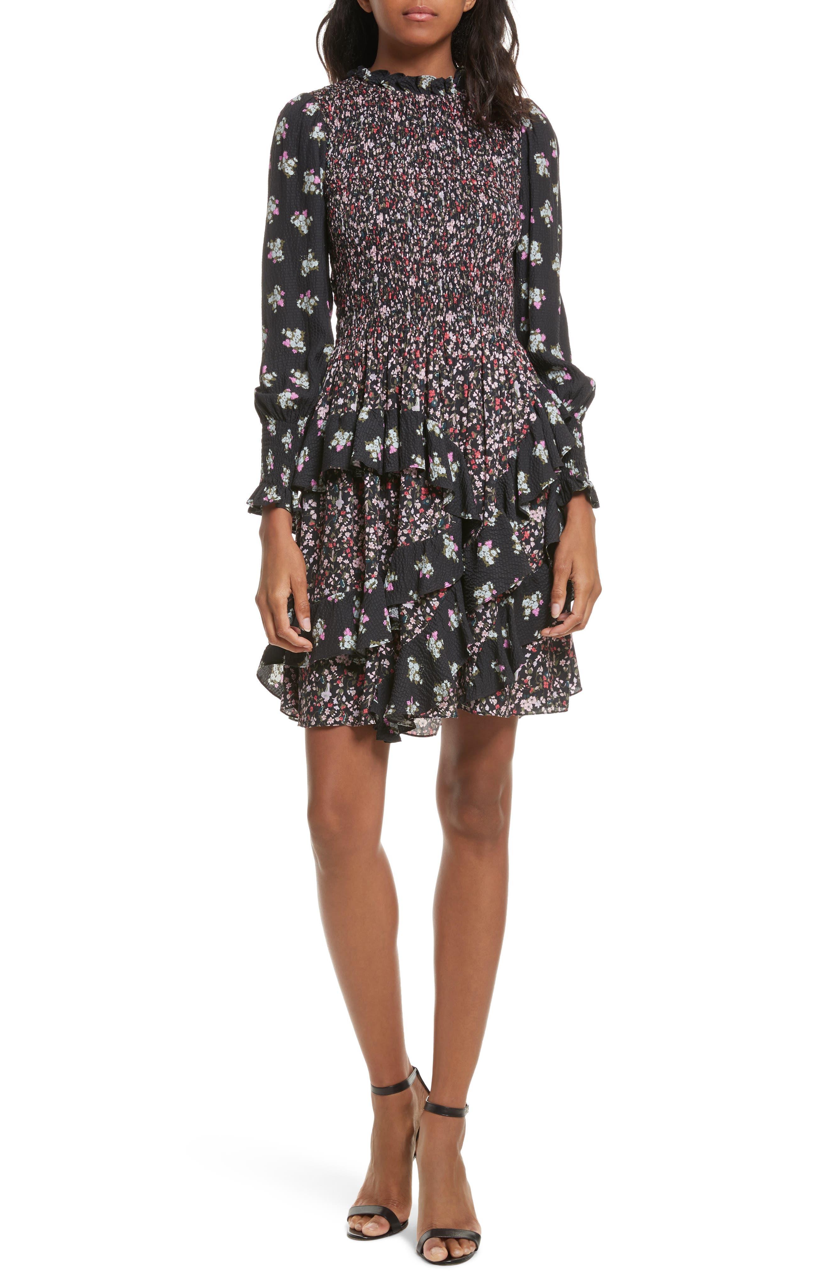 Mixed Print A-Line Silk Dress,                         Main,                         color, Print Mix Combo