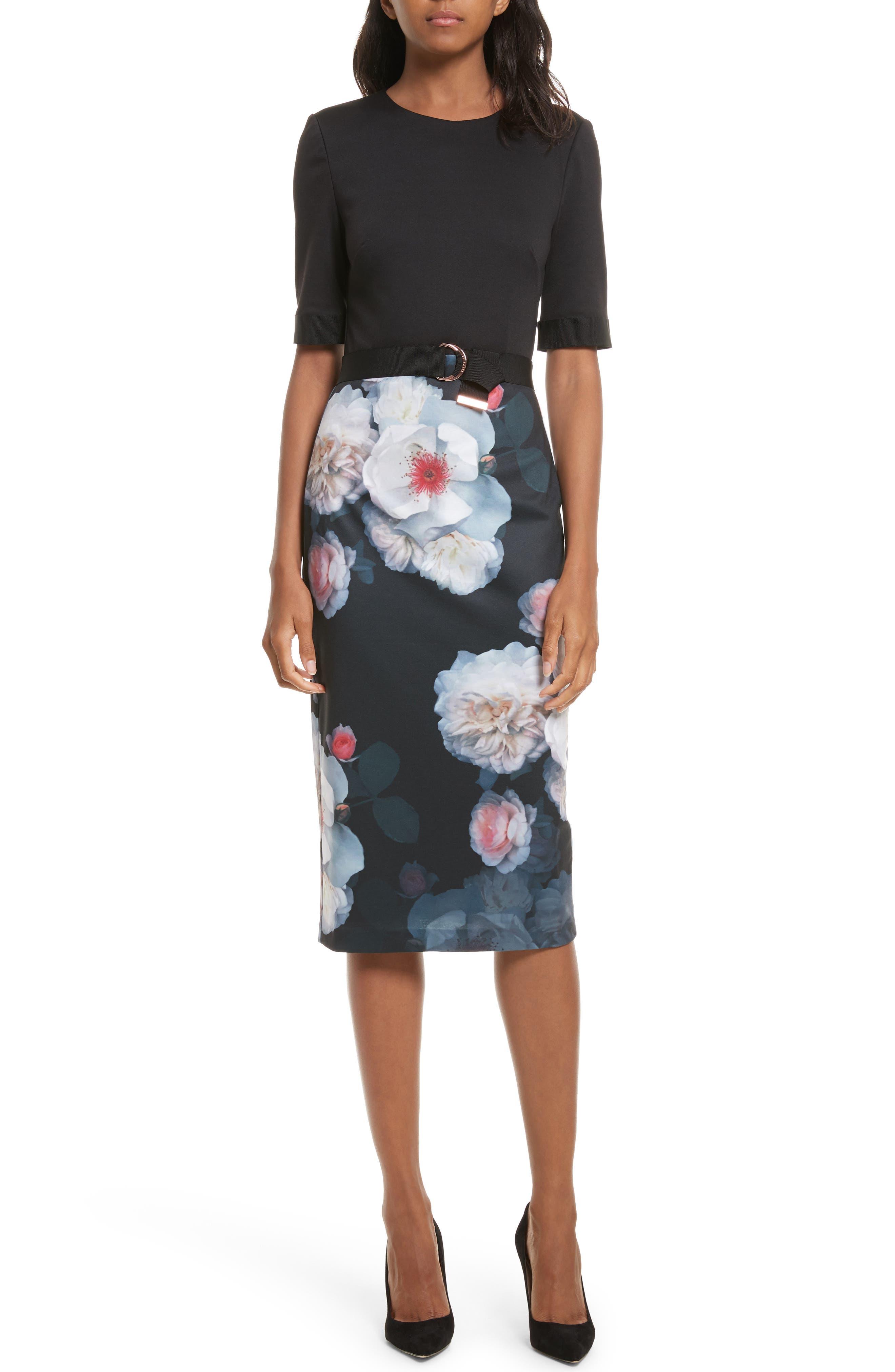 Maason Chelseas Floral Body-Con Dress,                             Main thumbnail 1, color,                             Black