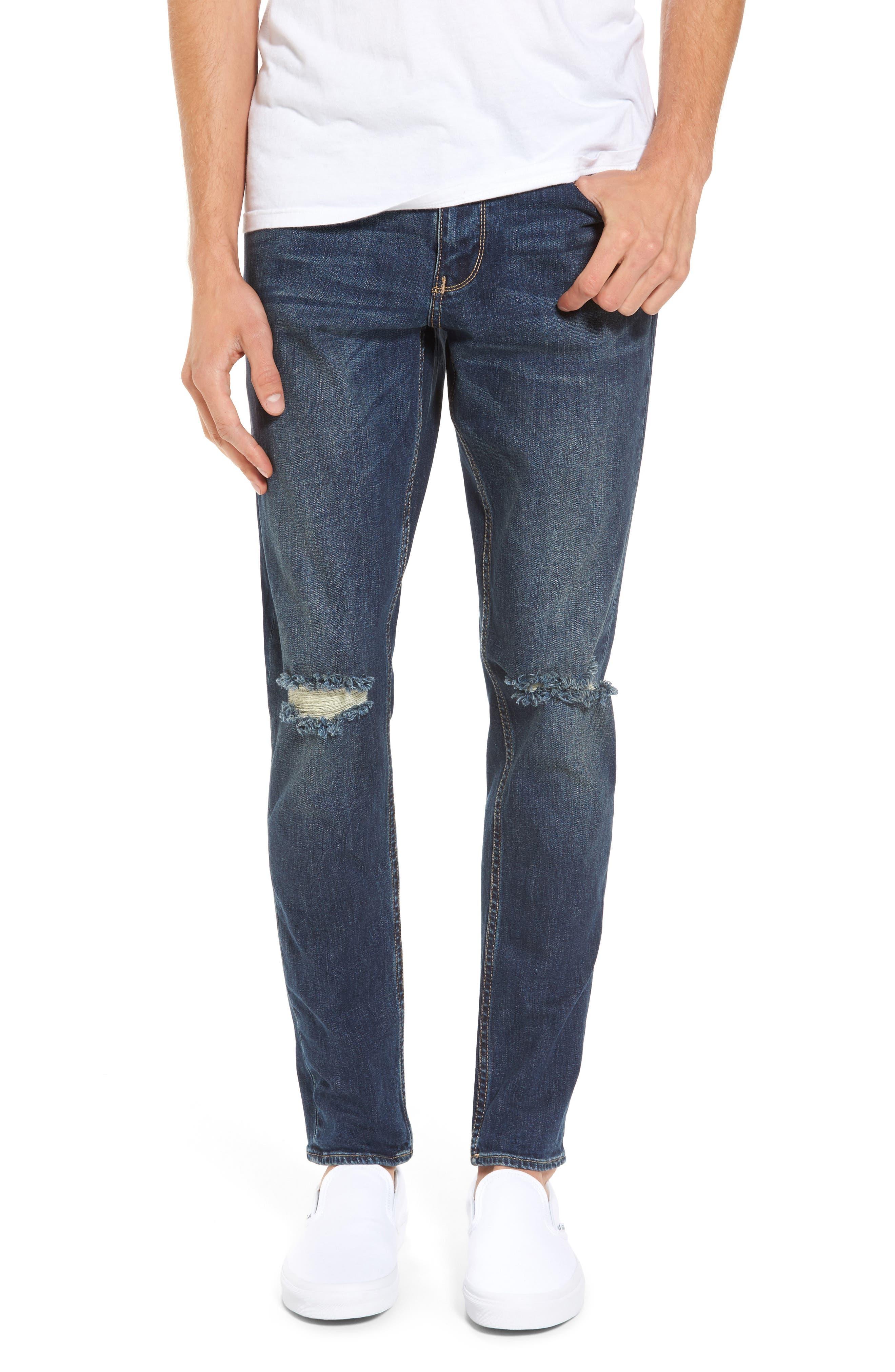 Slim Fit Destroyed Jeans,                             Main thumbnail 1, color,                             Blue Medium Indigo