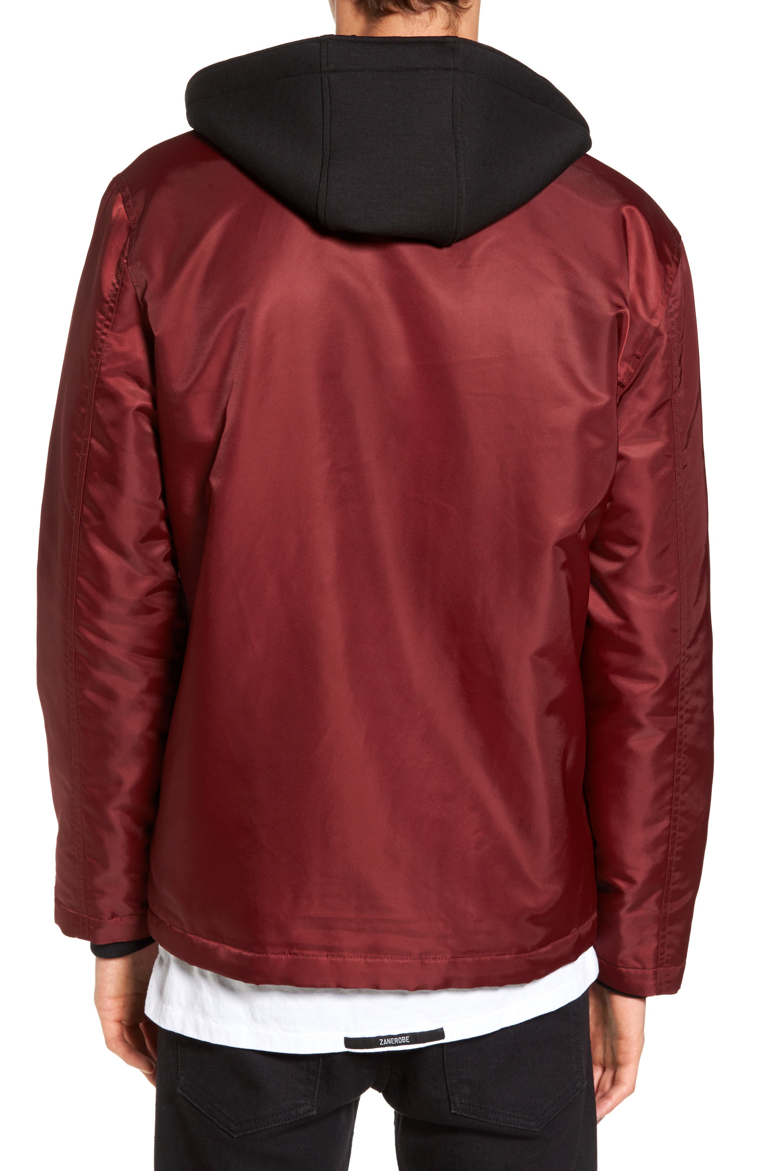 Yorkshire Hooded Coach's Jacket,                             Alternate thumbnail 2, color,                             Burgundy