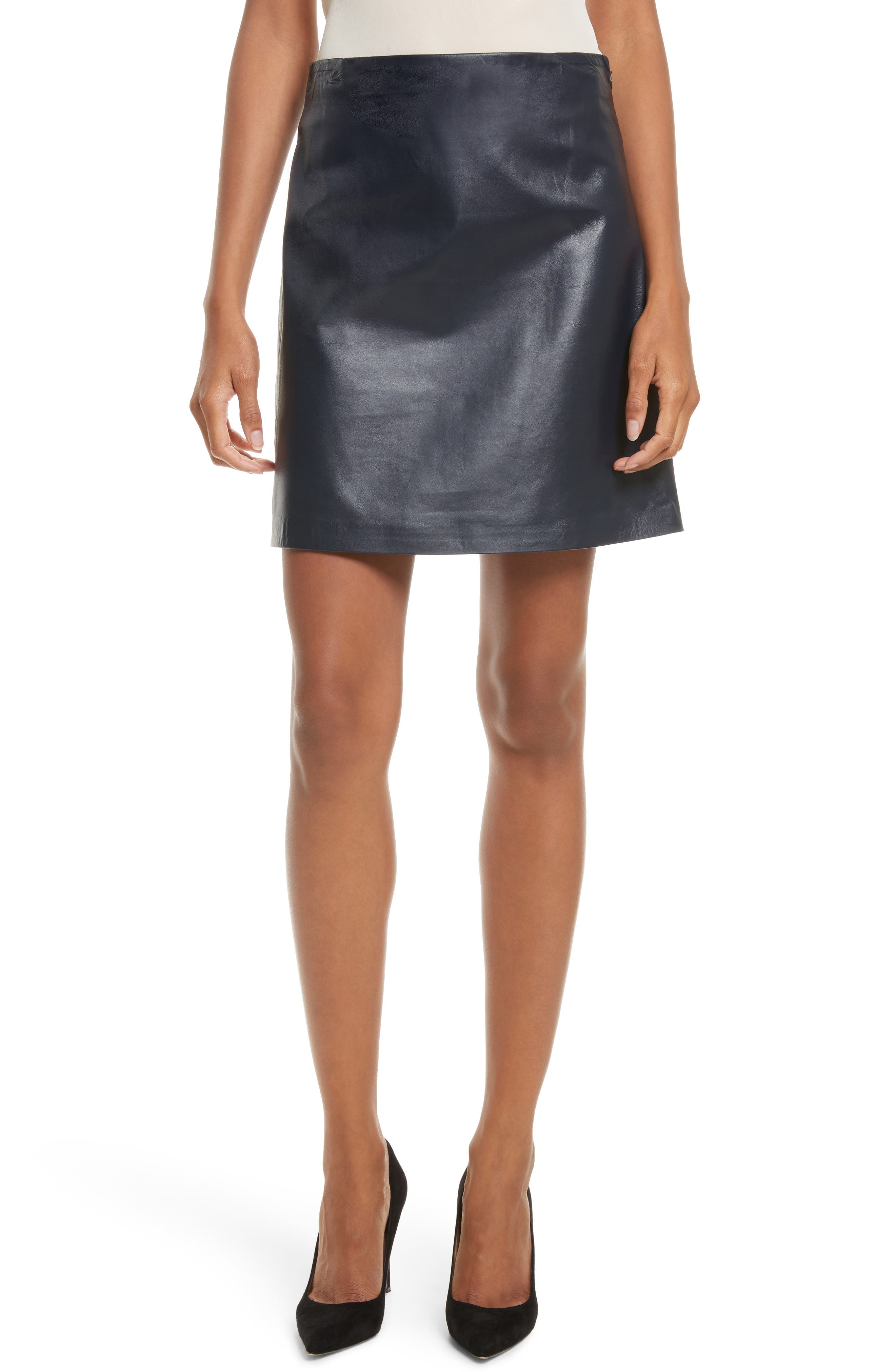 Micro Mini Paper Leather Skirt,                         Main,                         color, Navy