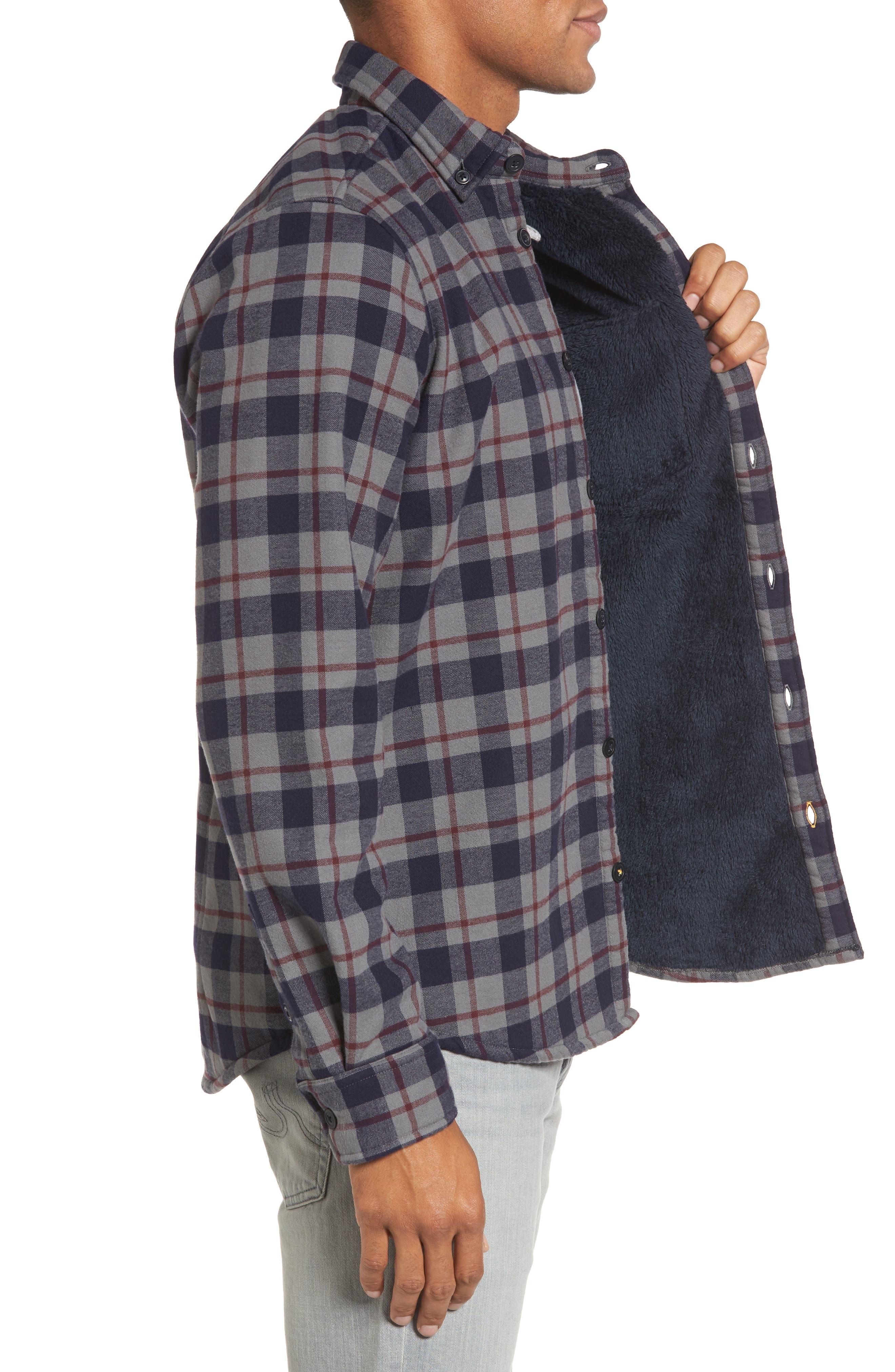 Hamilton Regular Fit Faux Fur Lined Shirt Jacket,                             Alternate thumbnail 3, color,                             Grey