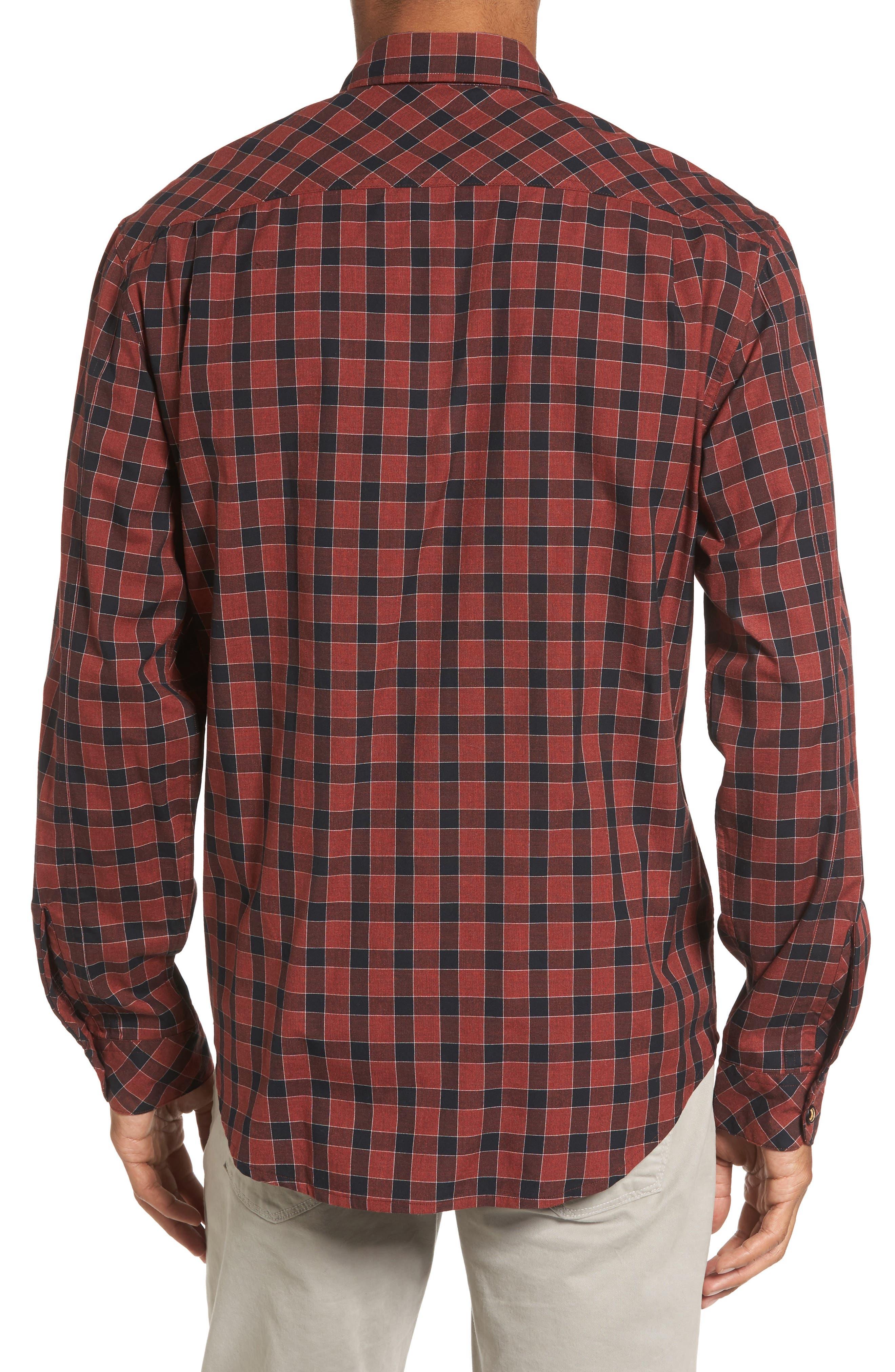 Lake Plaid Flannel Shirt,                             Alternate thumbnail 2, color,                             Red