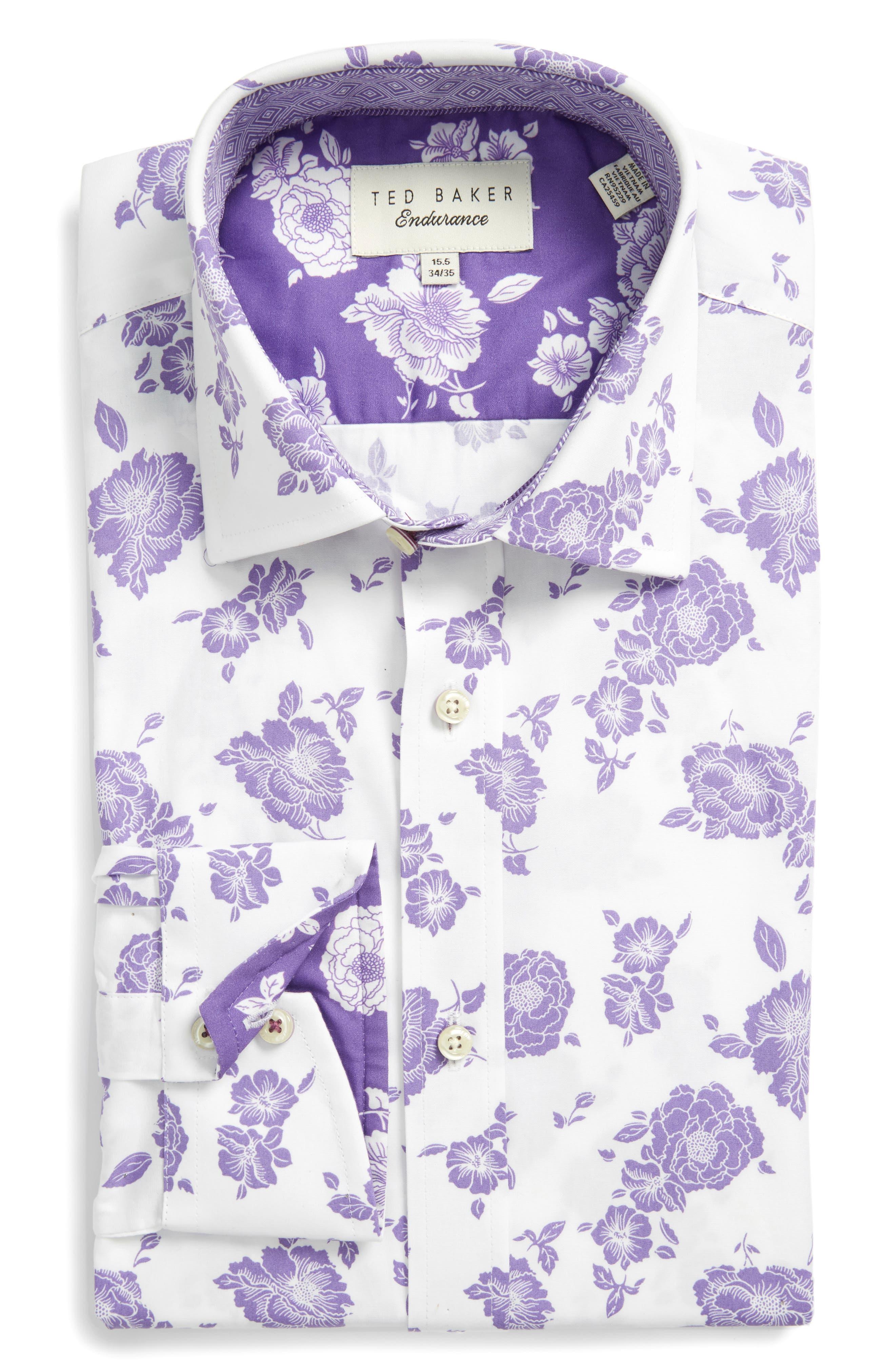 Ted Baker London Trim Fit Floral Dress Shirt