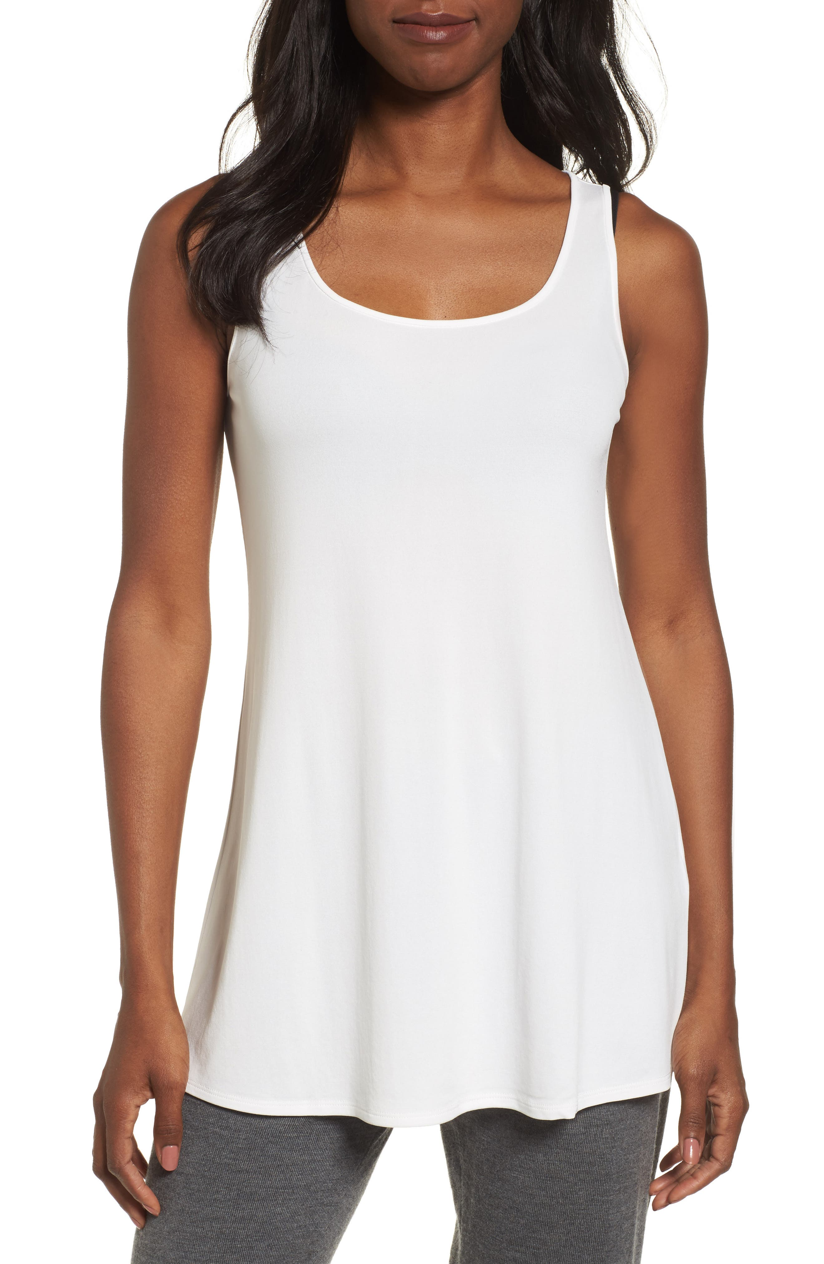 Scoop Neck Silk Tunic,                             Main thumbnail 1, color,                             Soft White