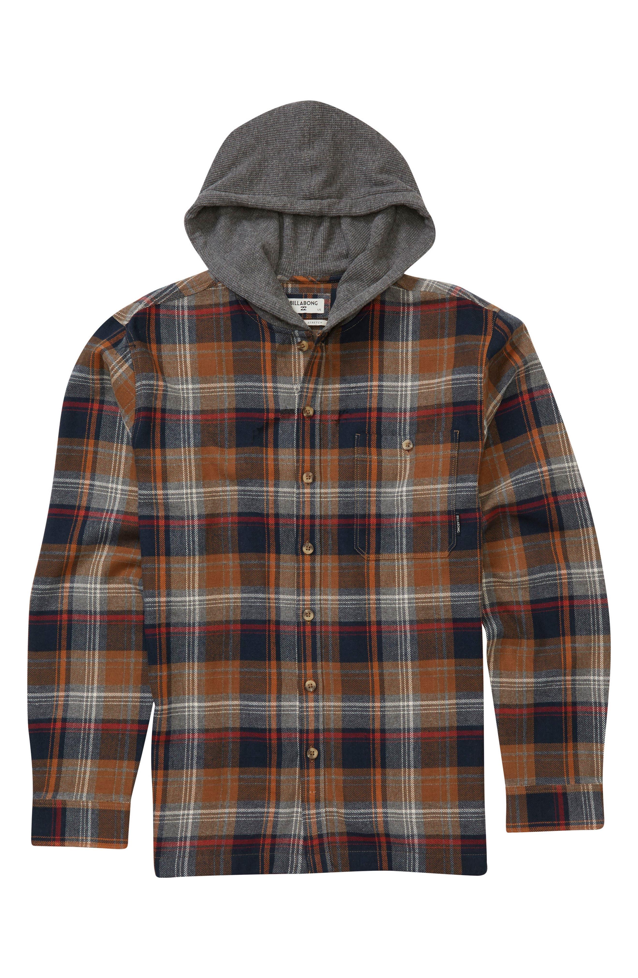 Baja Hooded Flannel,                             Main thumbnail 1, color,                             Tobacco