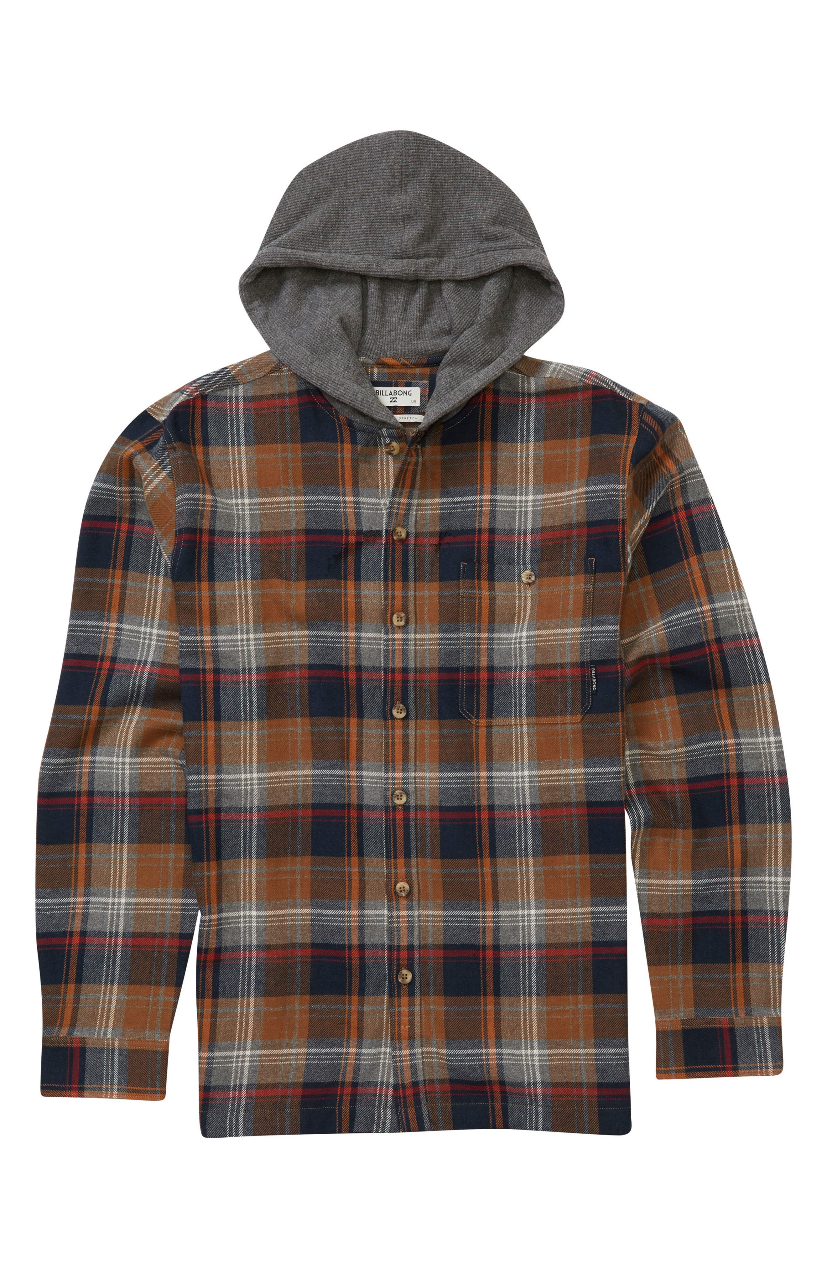 Baja Hooded Flannel,                         Main,                         color, Tobacco