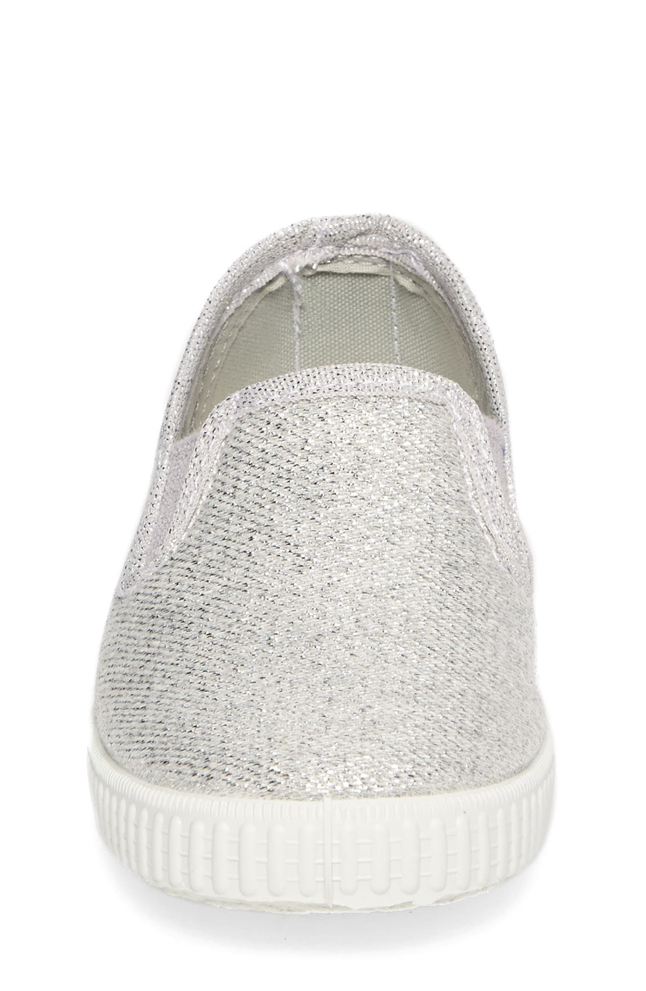 Glitter Slip-On Sneaker,                             Alternate thumbnail 4, color,                             Silver