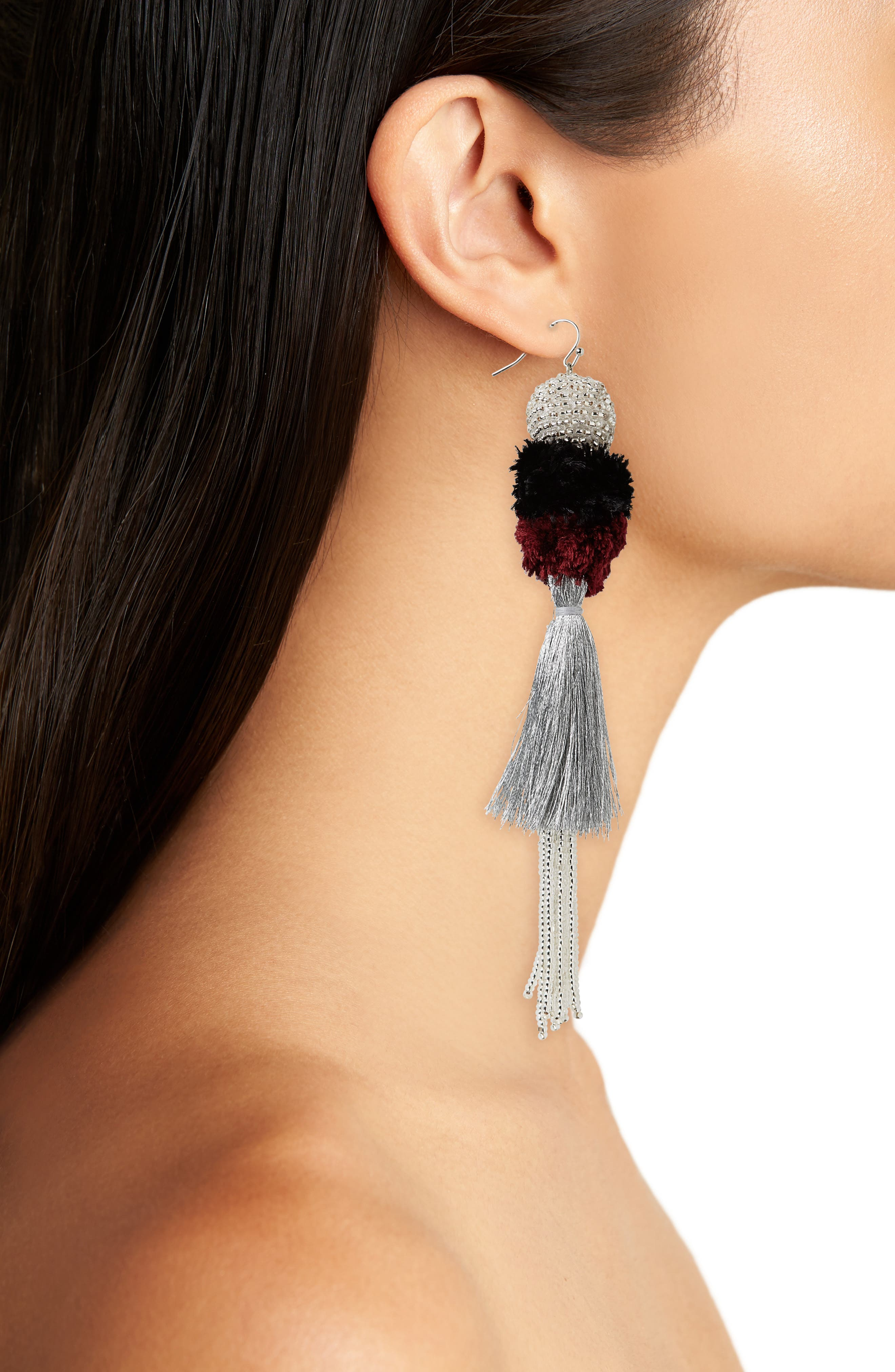 Tiered Tassel Earrings,                             Alternate thumbnail 2, color,                             Currant/ Silver