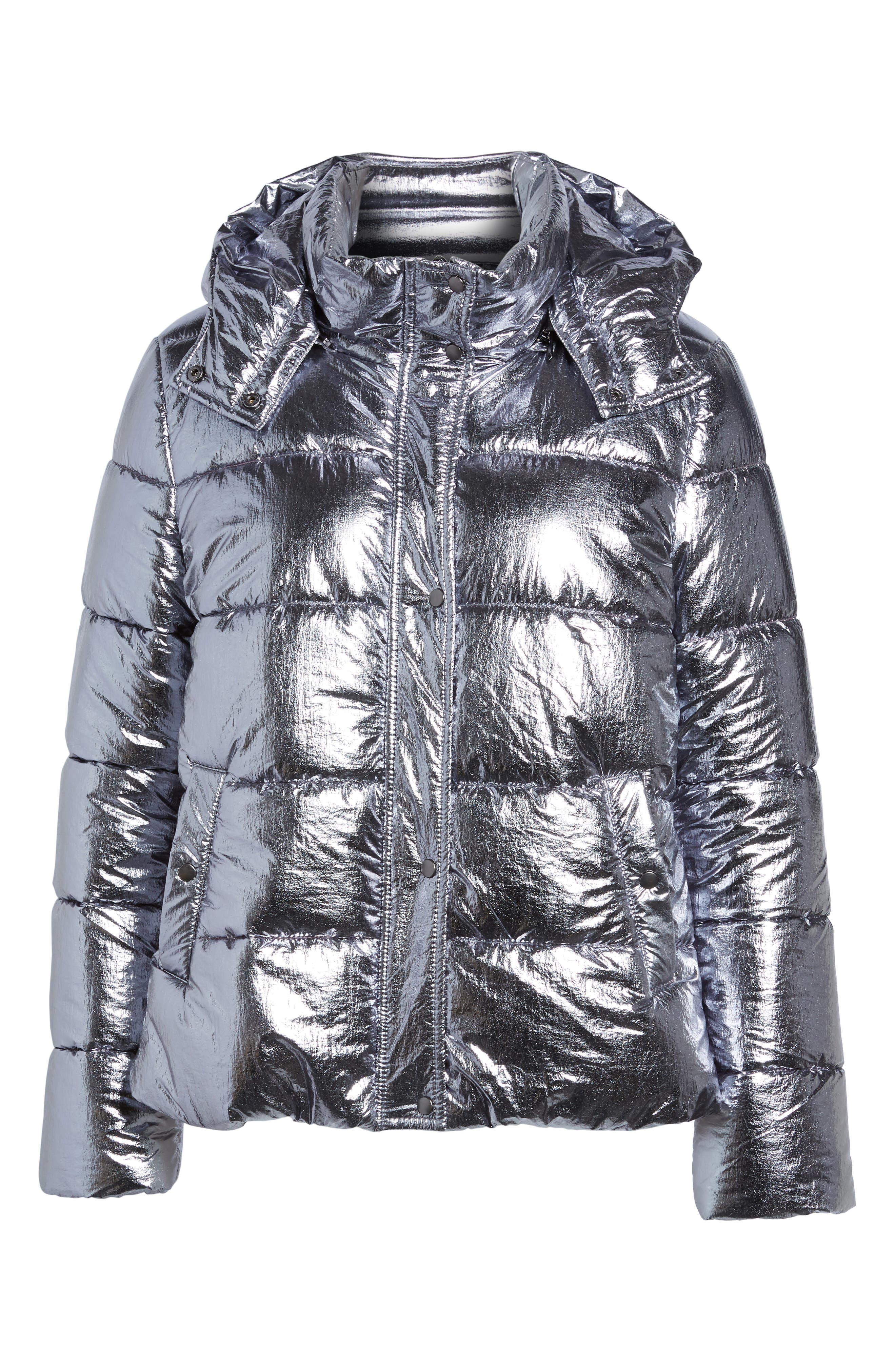 Short Puffer Jacket,                             Alternate thumbnail 6, color,                             Silver