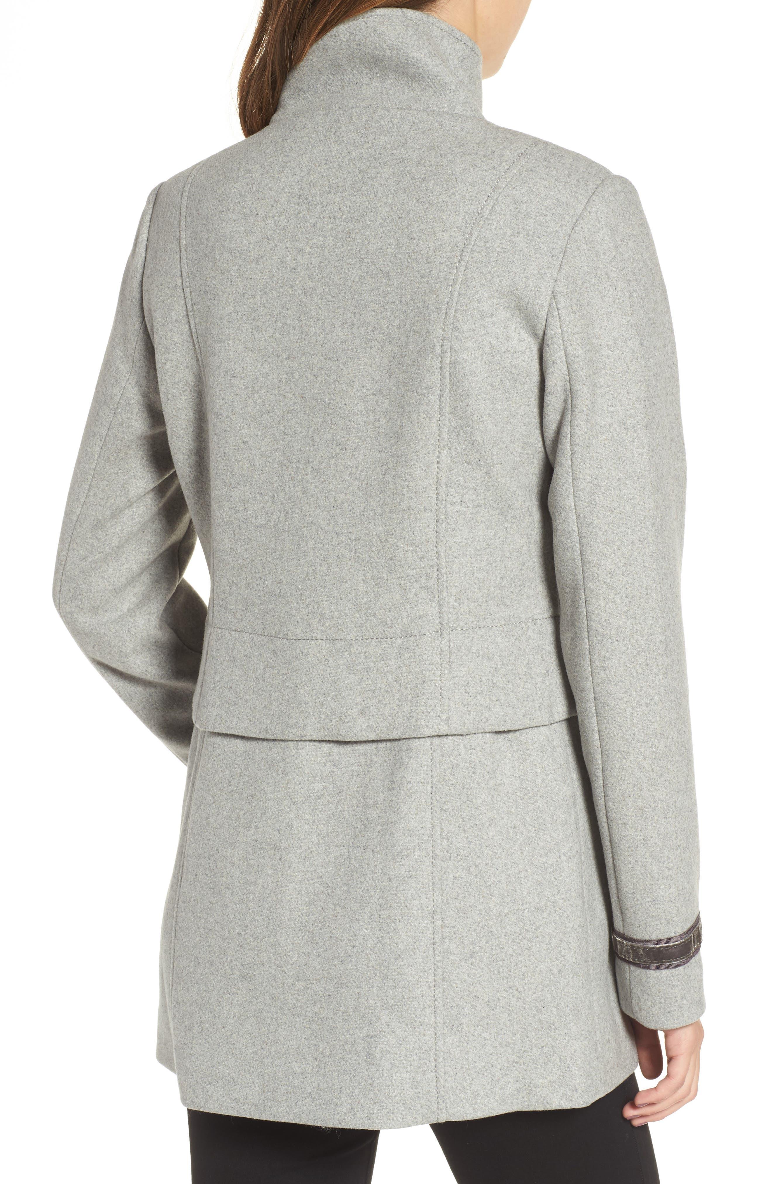 Wool Blend Military Coat,                             Alternate thumbnail 2, color,                             Light Grey