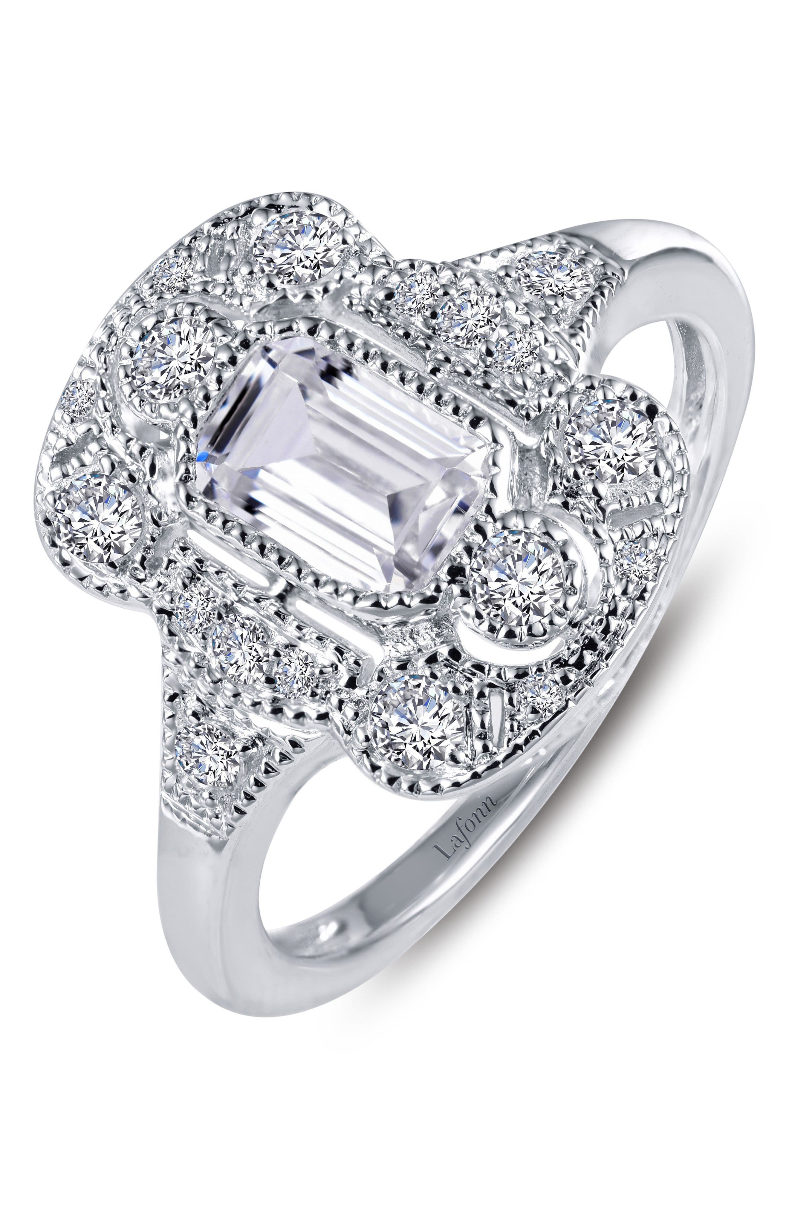 Simulated Diamond Heritage Ring,                         Main,                         color, Silver/ Clear
