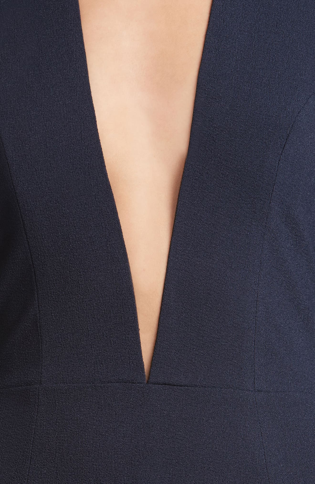 Kelli Plunging Crepe Sheath Dress,                             Alternate thumbnail 4, color,                             Navy