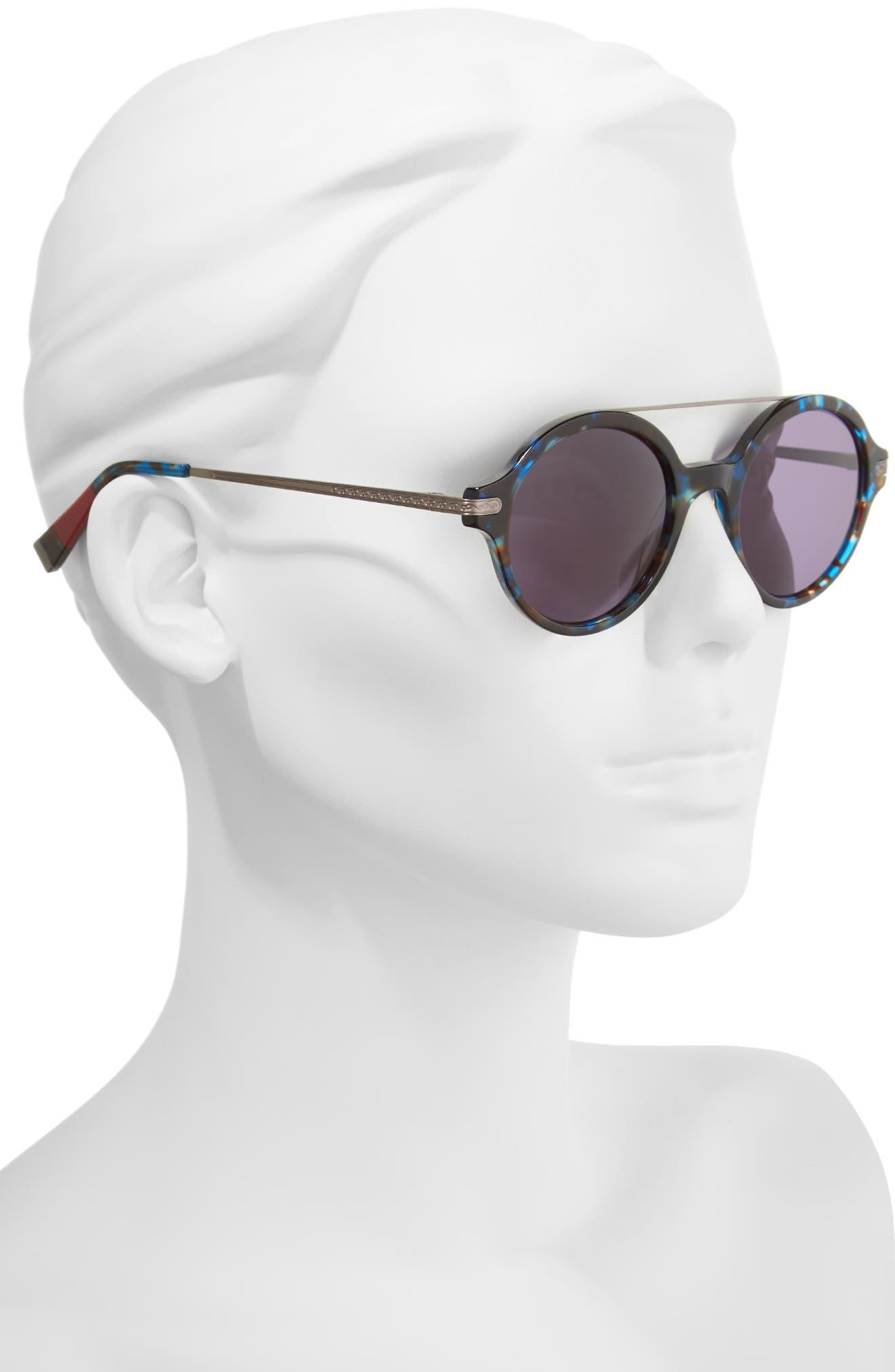 49mm Round Sunglasses,                             Alternate thumbnail 2, color,                             Lapis