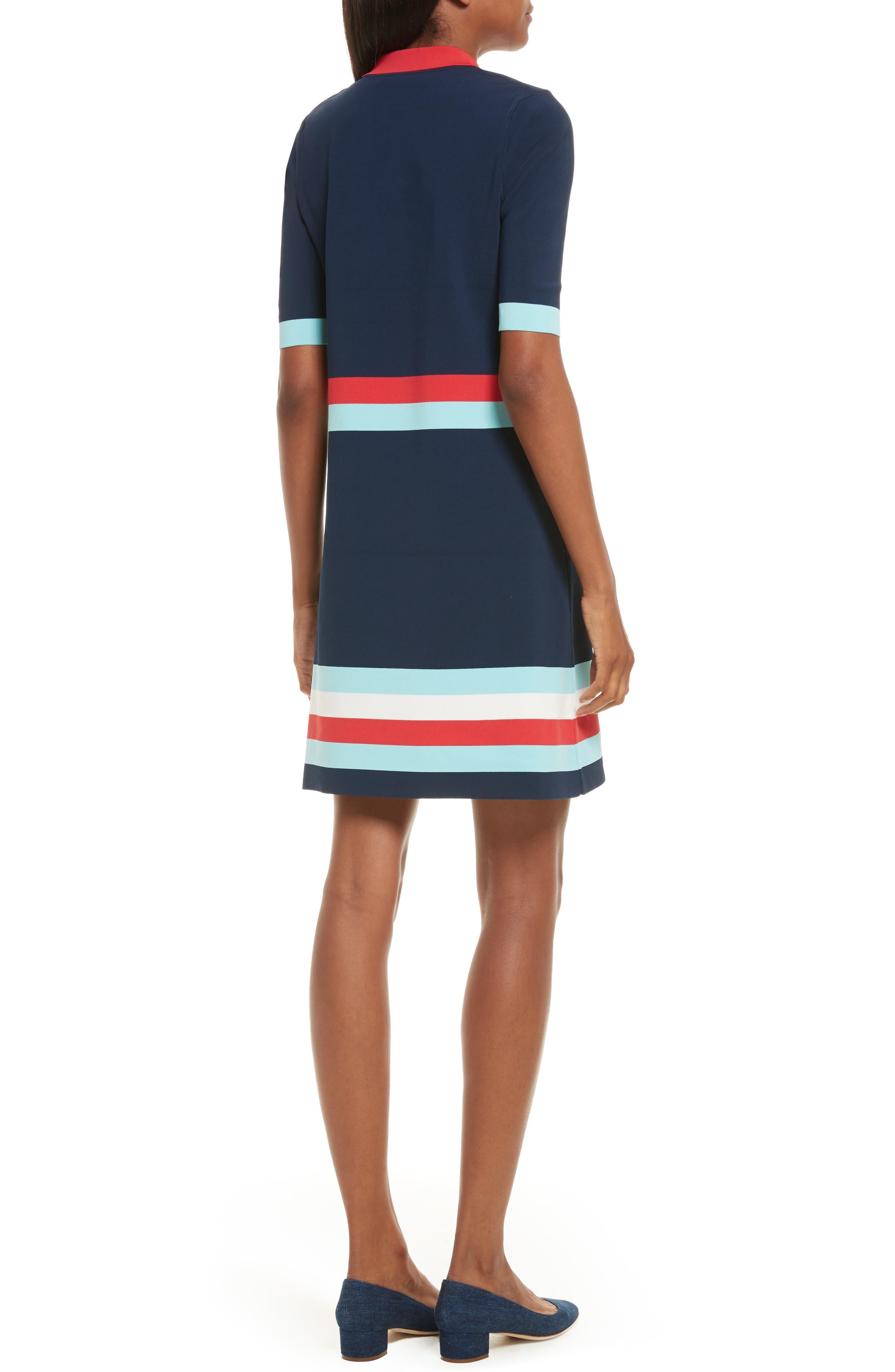 Origami Stripe Knit Dress,                             Alternate thumbnail 2, color,                             Dark Blue