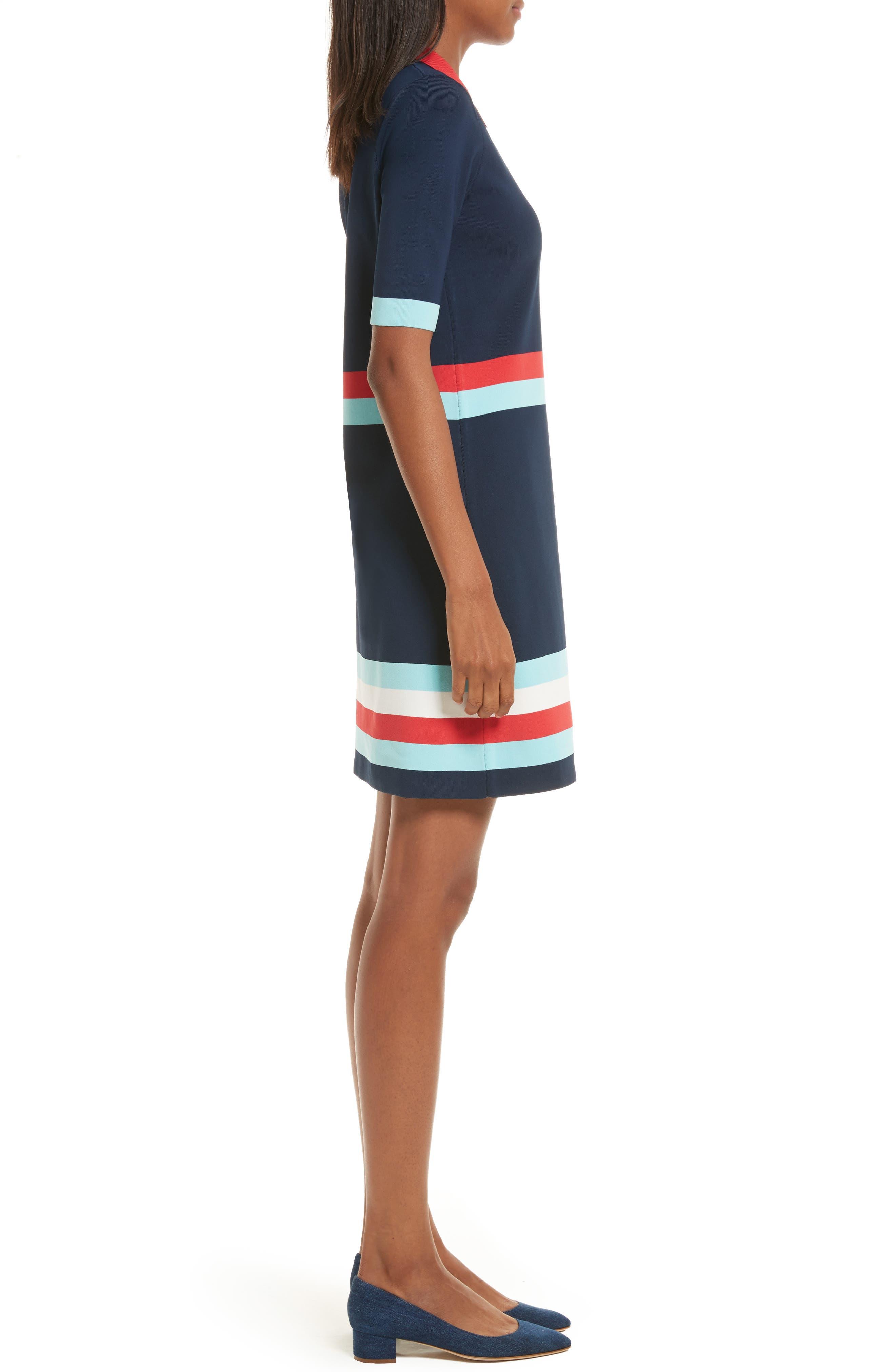 Origami Stripe Knit Dress,                             Alternate thumbnail 3, color,                             Dark Blue