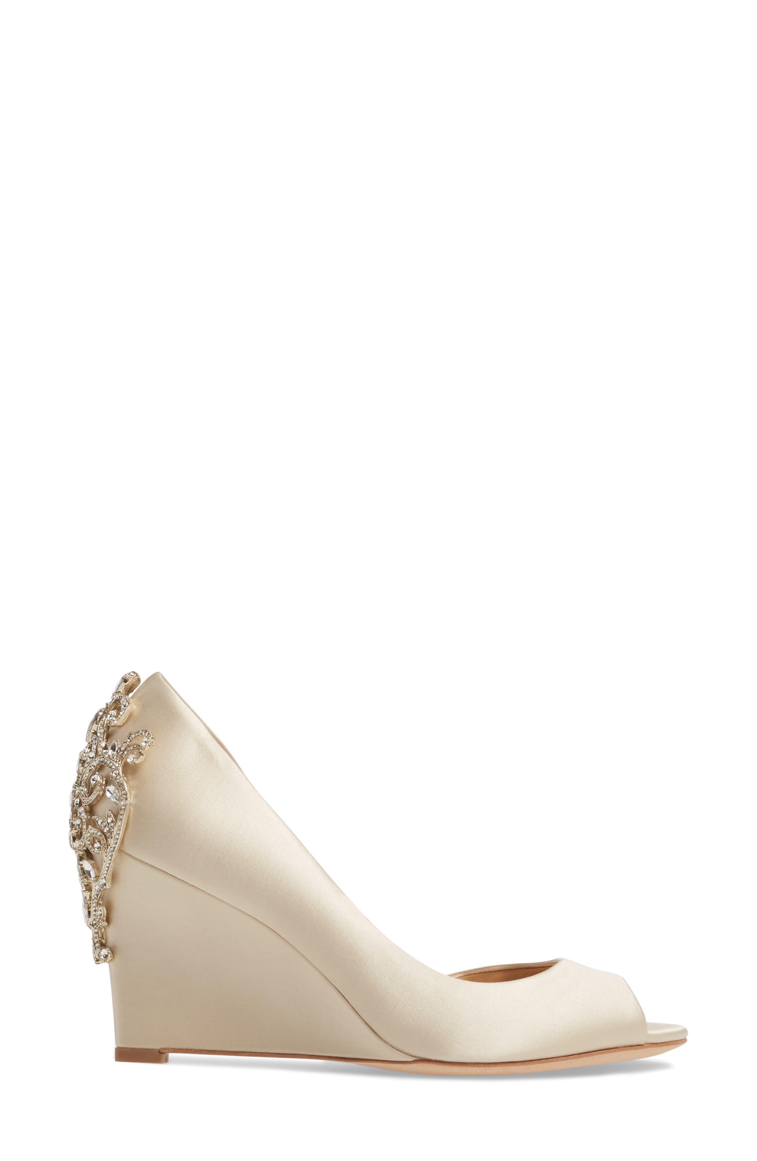 Meagan Embellished Peep Toe Wedge,                             Alternate thumbnail 3, color,                             Ivory Satin