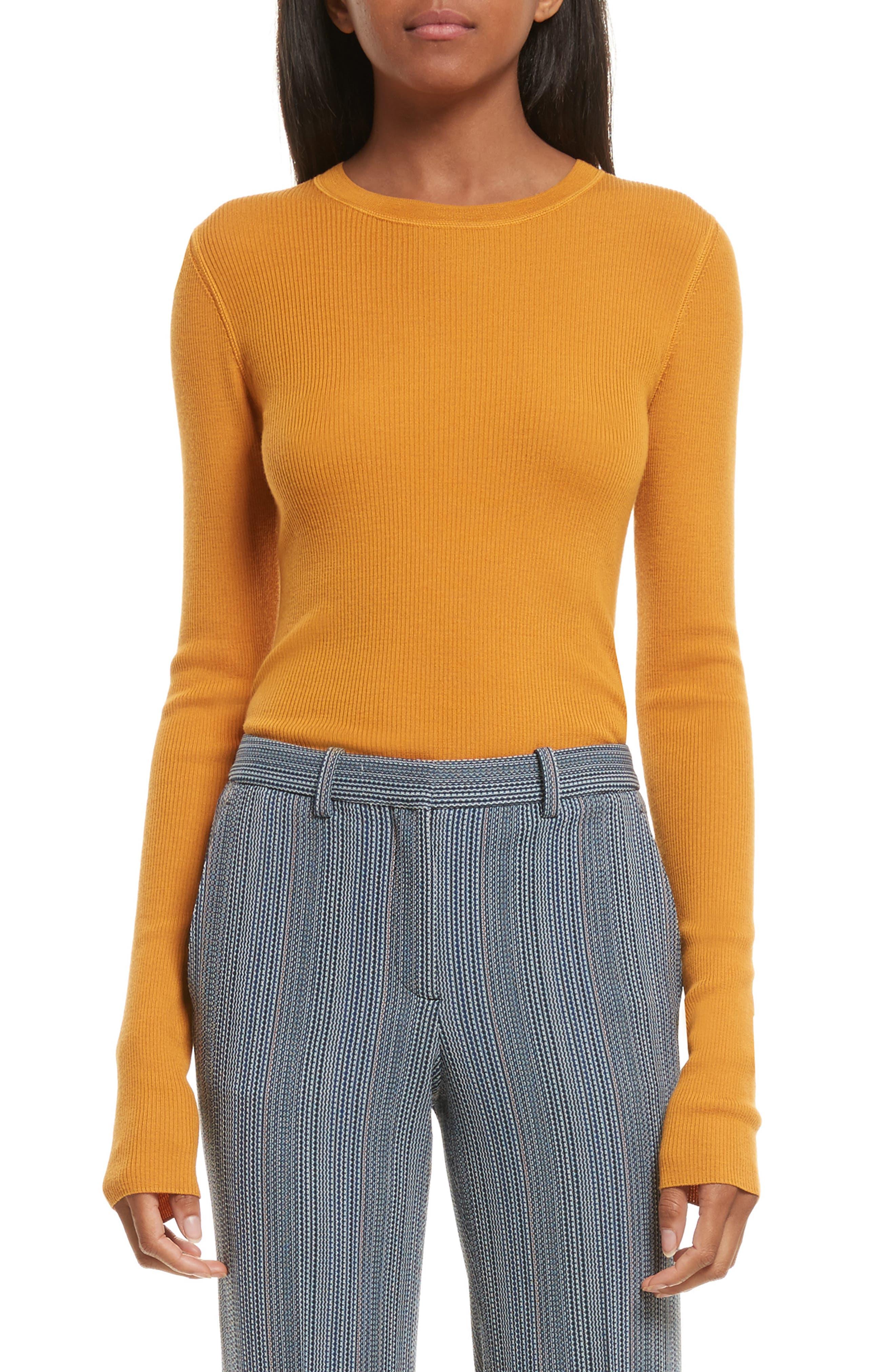 Mirzi Ribbed Sweater,                         Main,                         color, Papaya