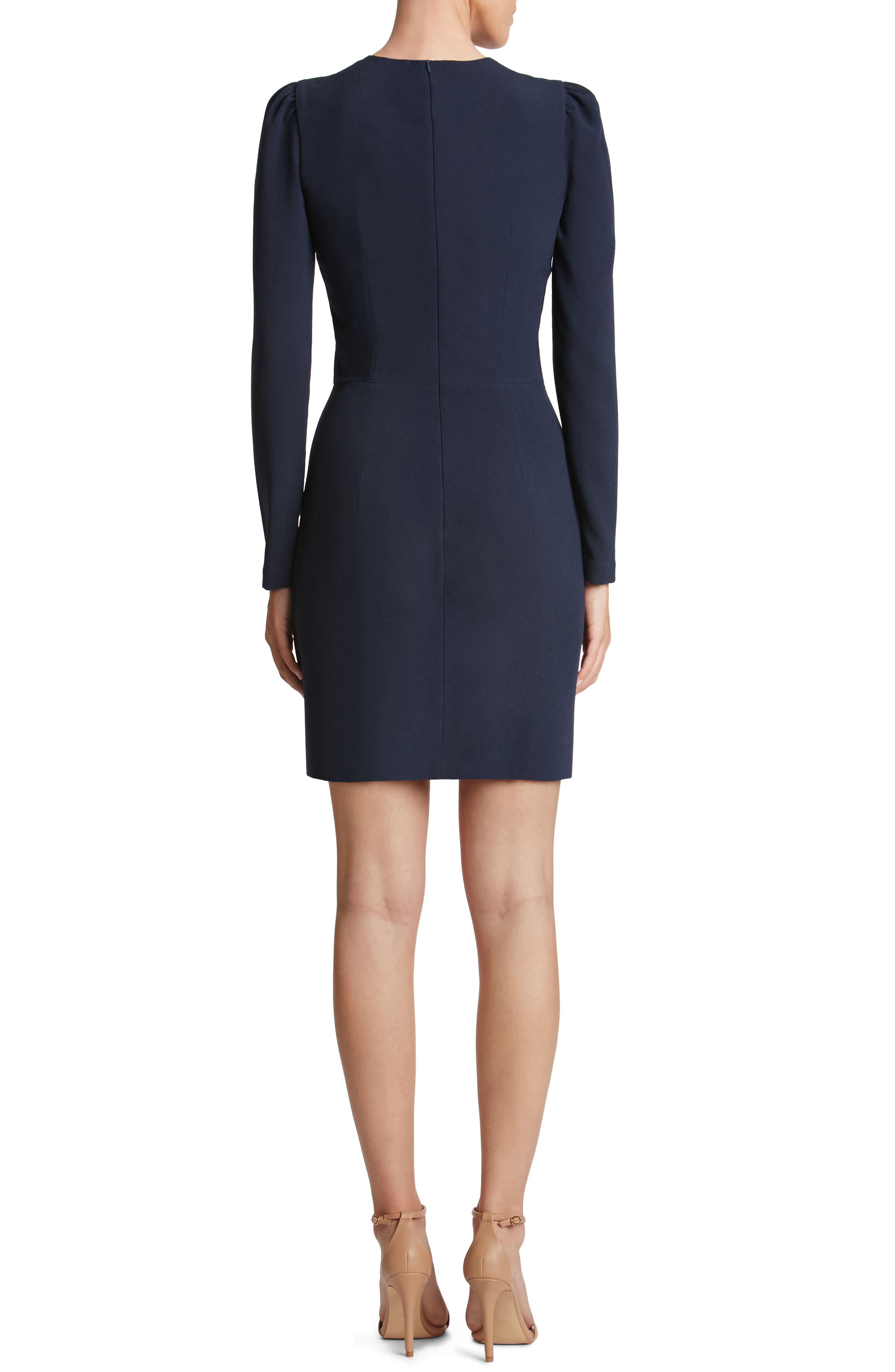 Kelli Plunging Crepe Sheath Dress,                             Alternate thumbnail 2, color,                             Navy