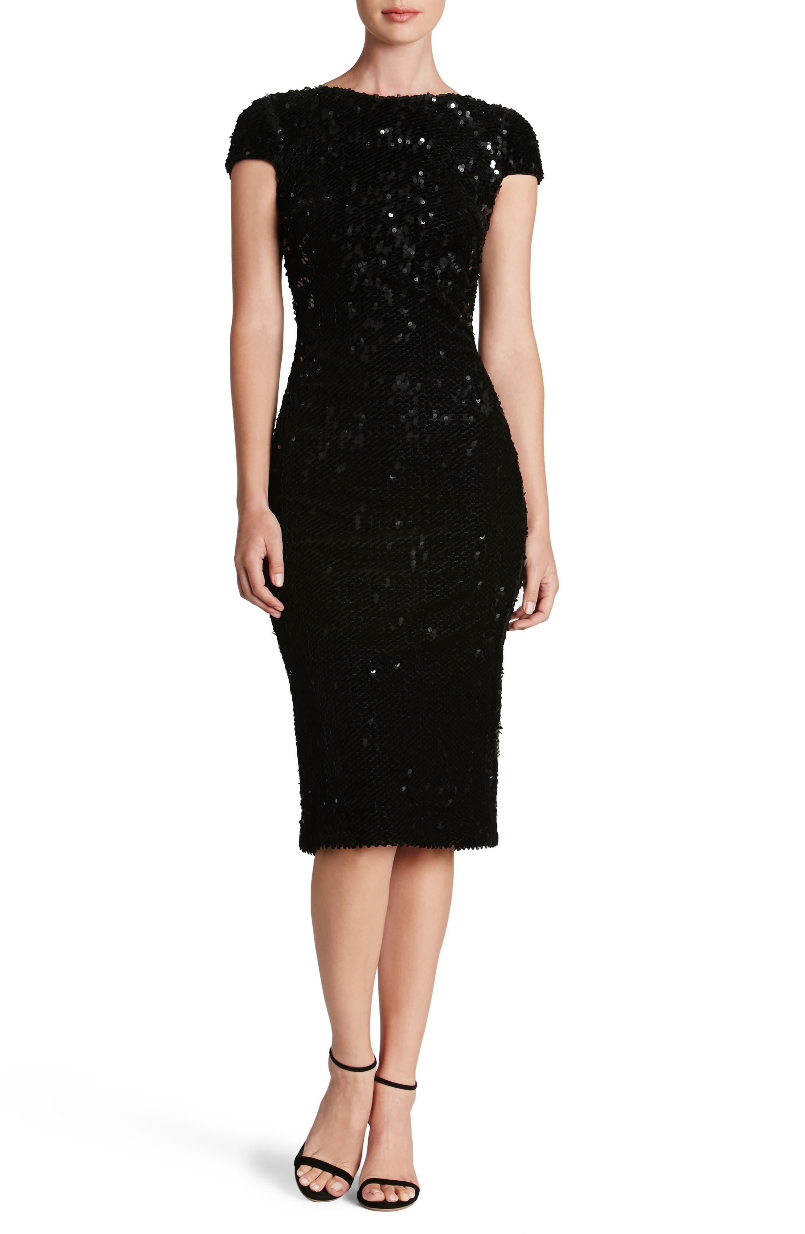 Marcella Sequin Body-Con Dress,                             Main thumbnail 1, color,                             Black
