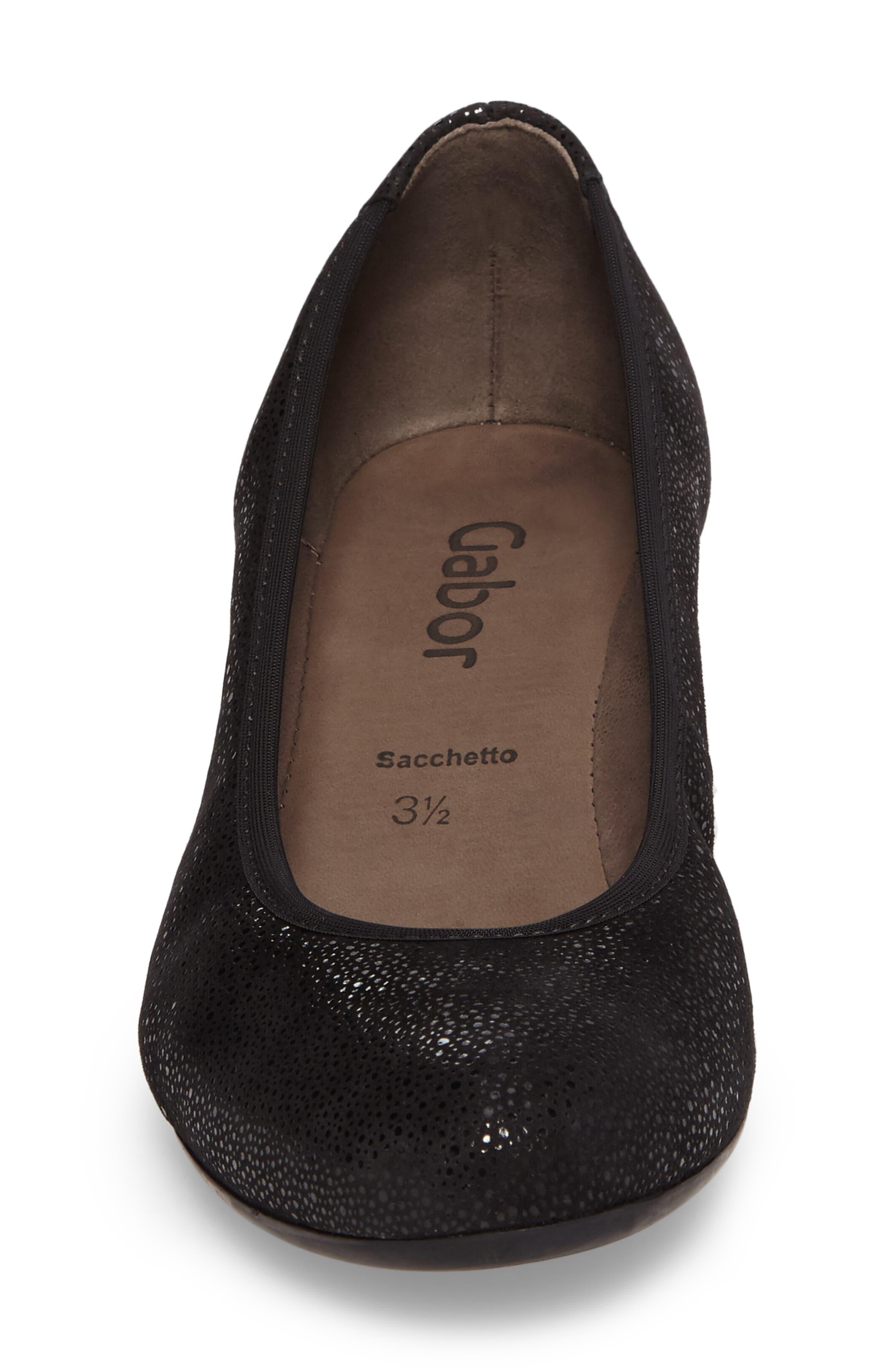Wedge Pump,                             Alternate thumbnail 4, color,                             Black Glitter Leather