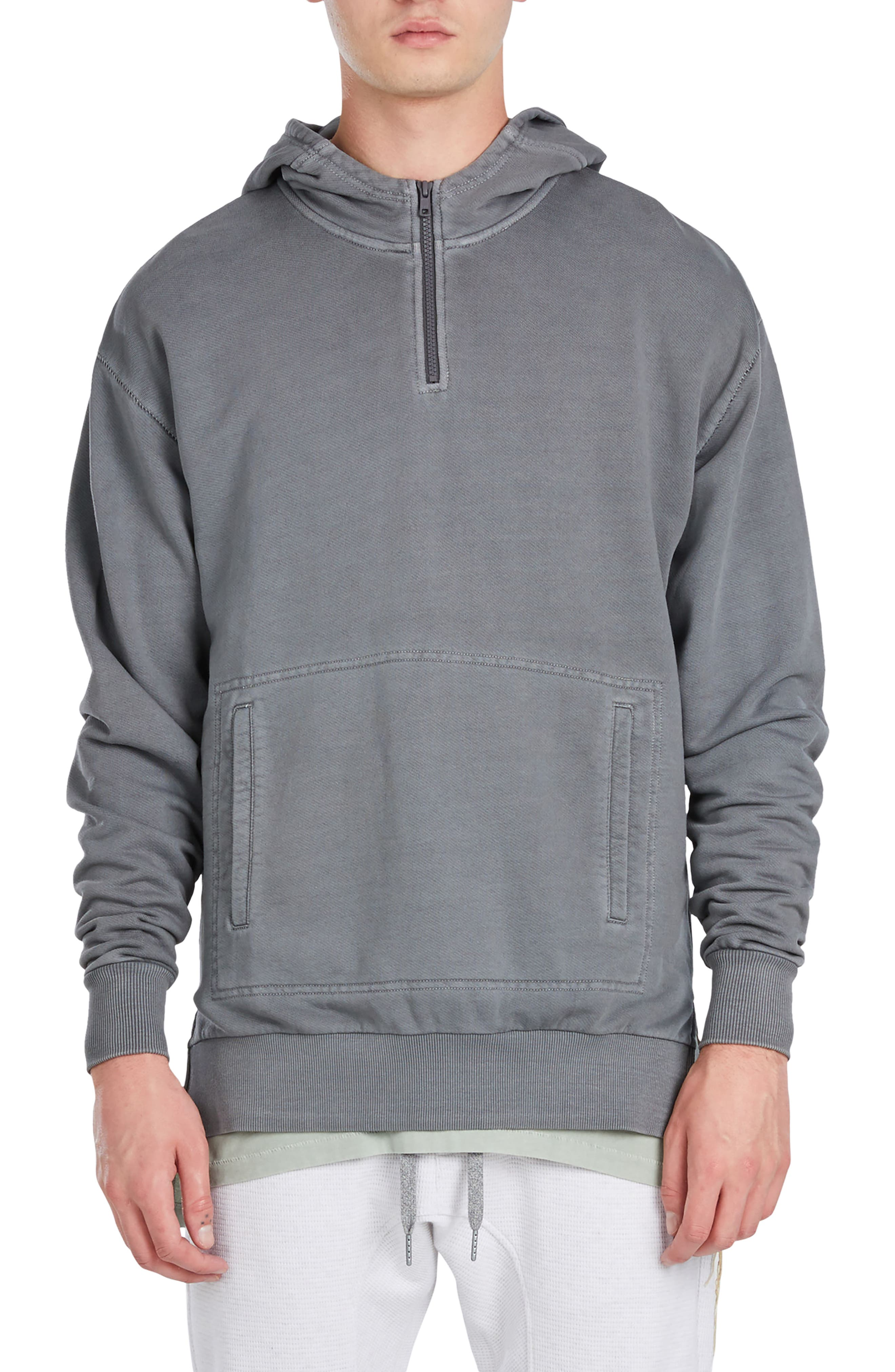 Rugger Quarter Zip Hoodie,                         Main,                         color, Pigment Grey
