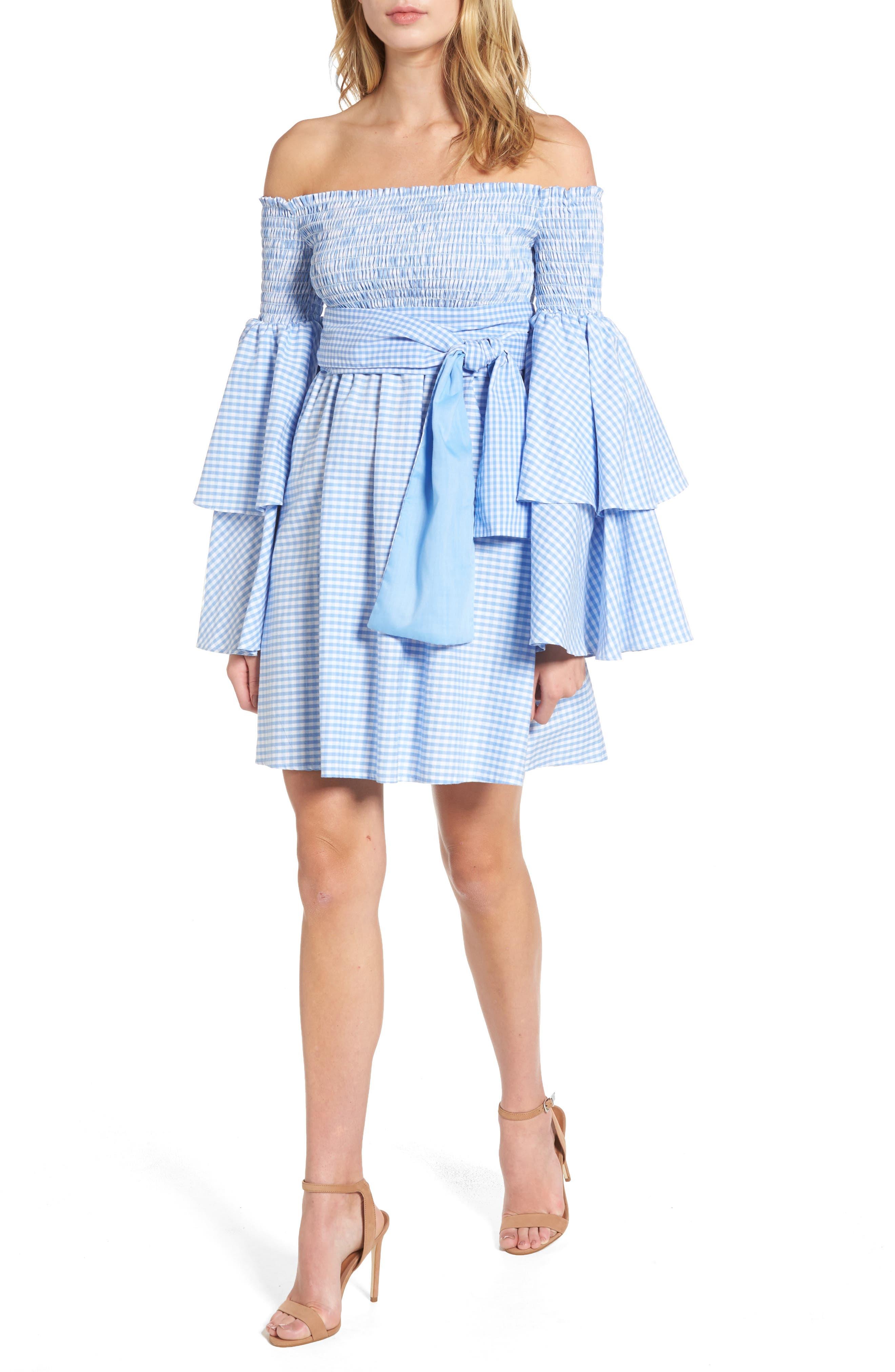 Disco Fever Off the Shoulder Dress,                         Main,                         color, Checkered Sky Blue