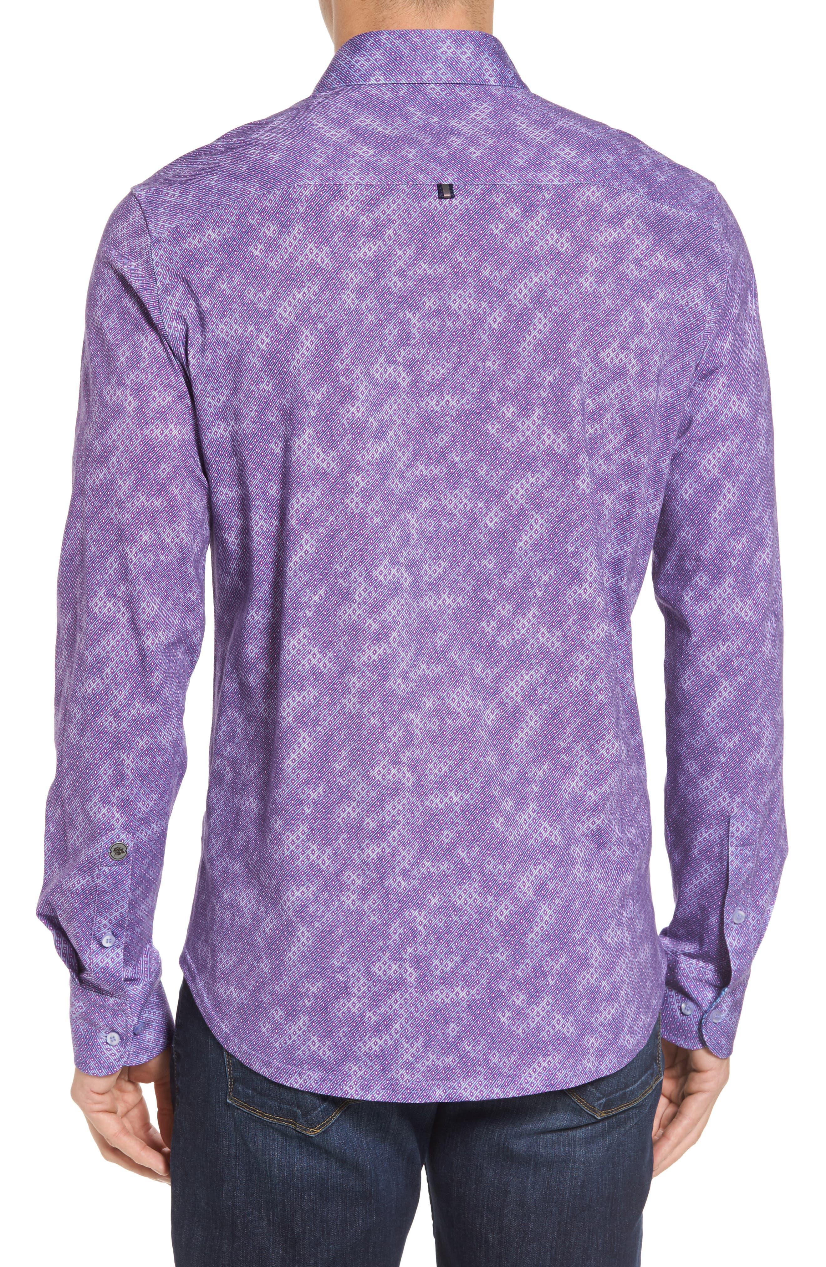Alternate Image 2  - Stone Rose Slim Fit Wavy Diamond Print Sport Shirt