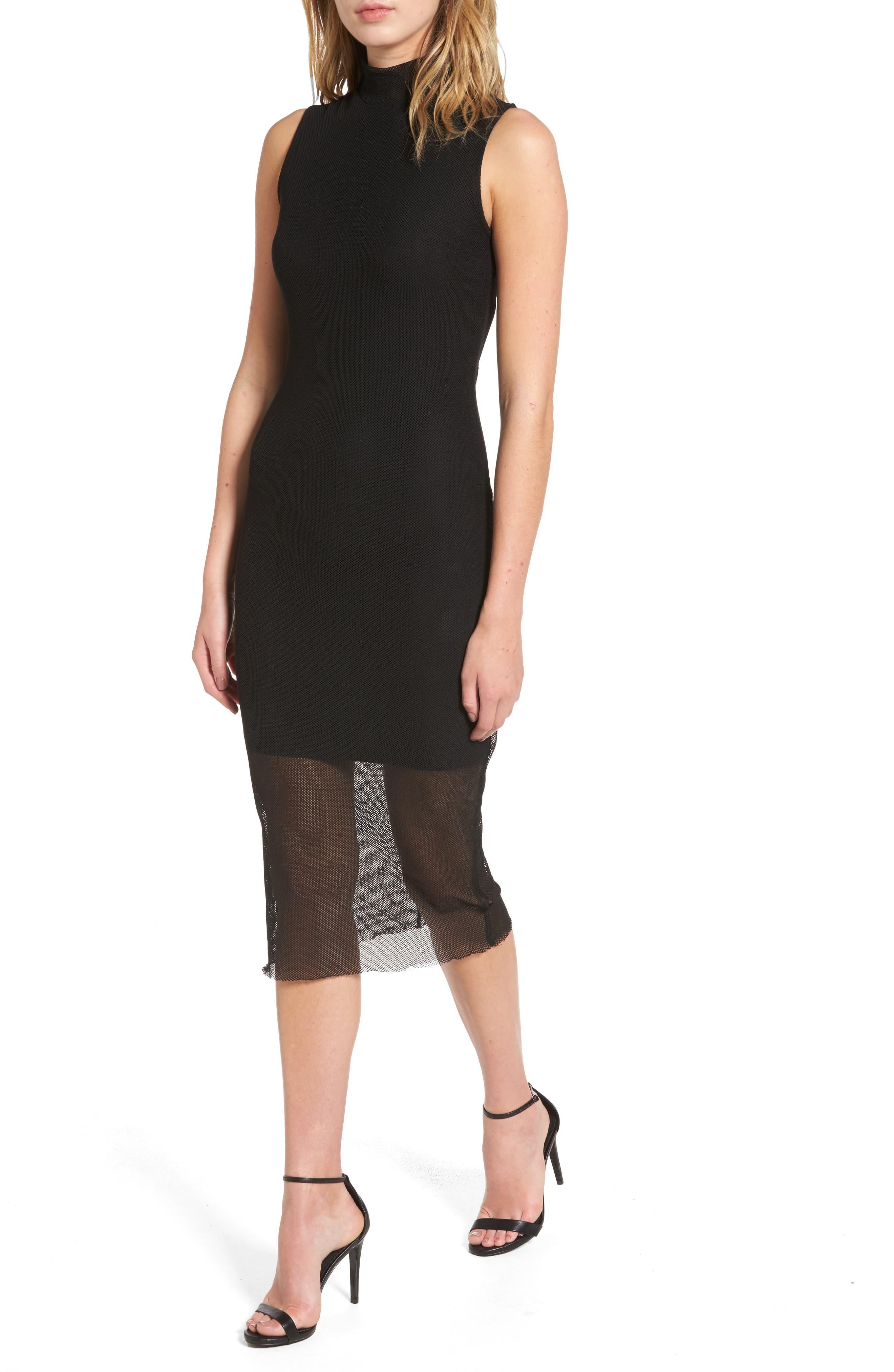 Mesh Body-Con Dress,                         Main,                         color, Black