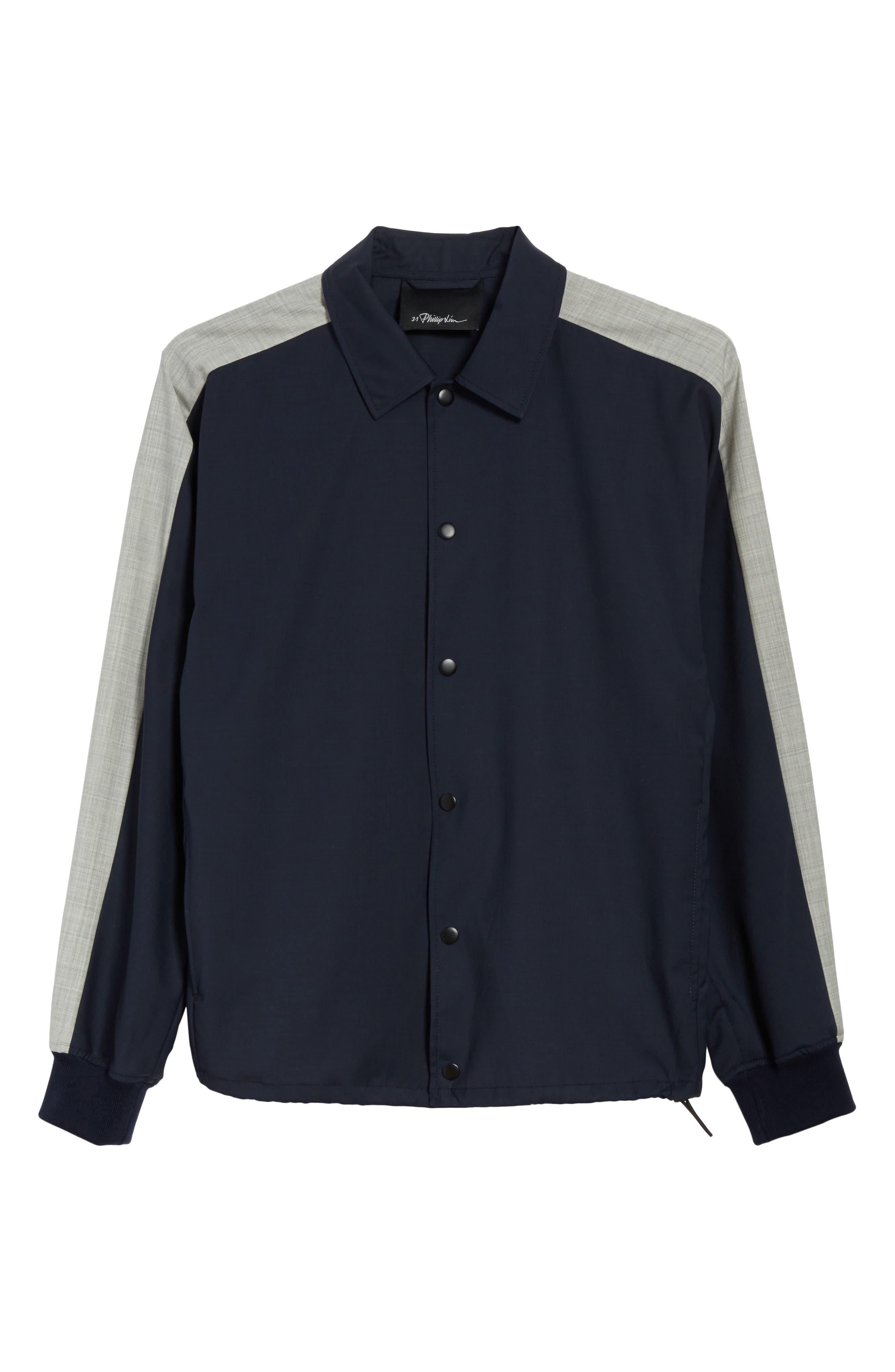 Wool Coachs Jacket,                             Alternate thumbnail 6, color,                             Midnight