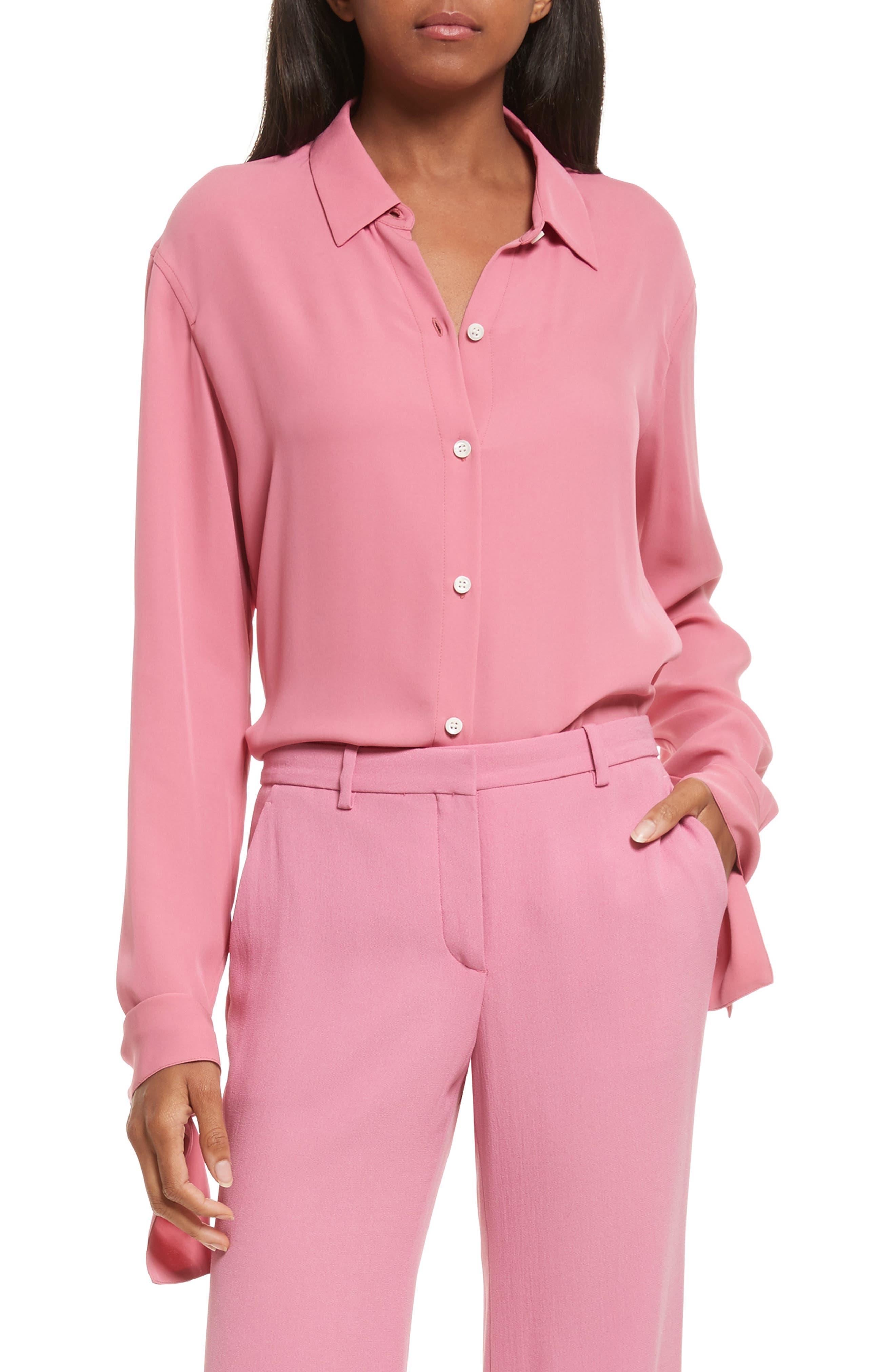 Theory Tie Cuff Silk Georgette Shirt