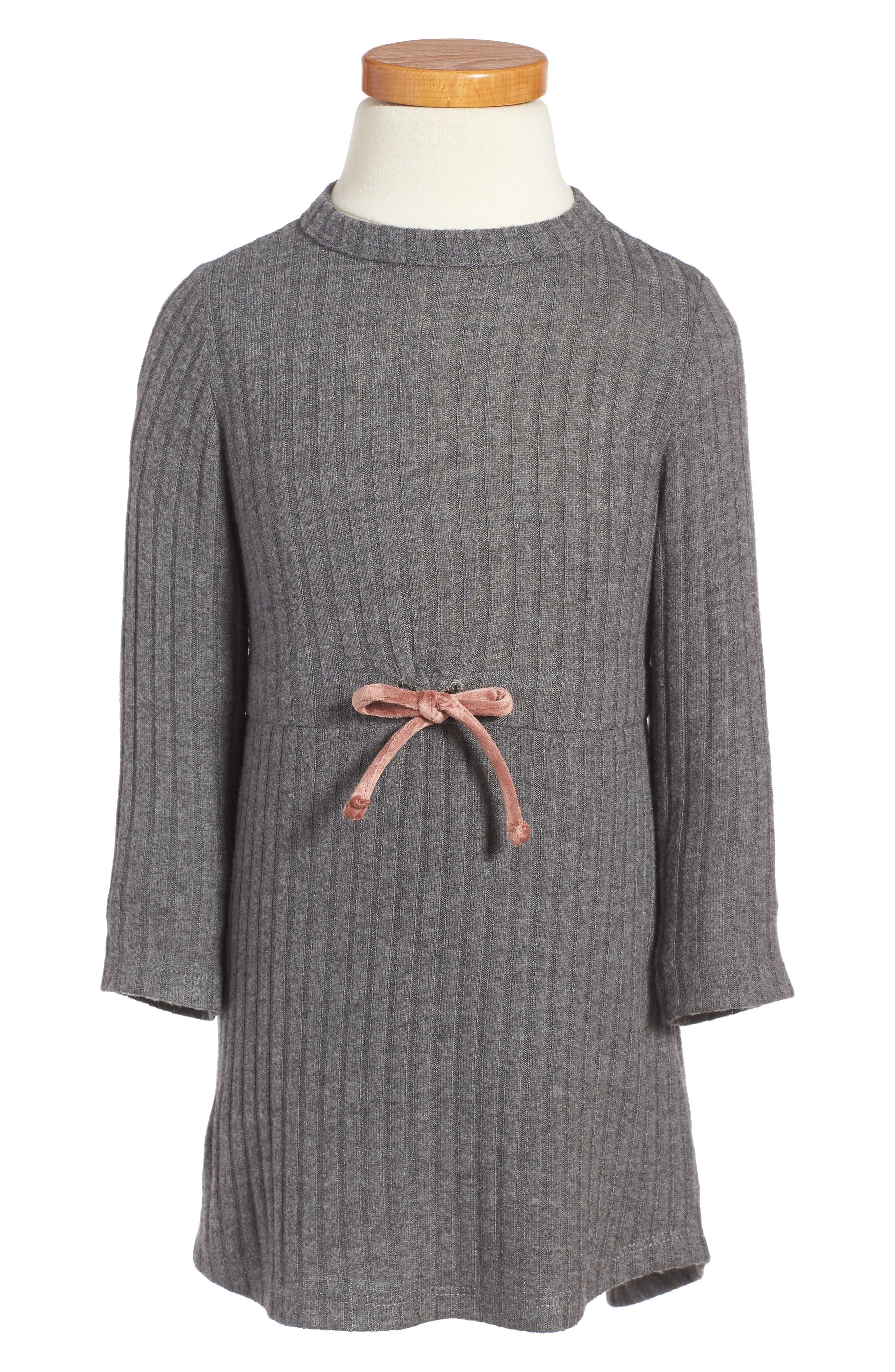 Ellana Ribbed Sweater Dress,                         Main,                         color, Charcoal Rib