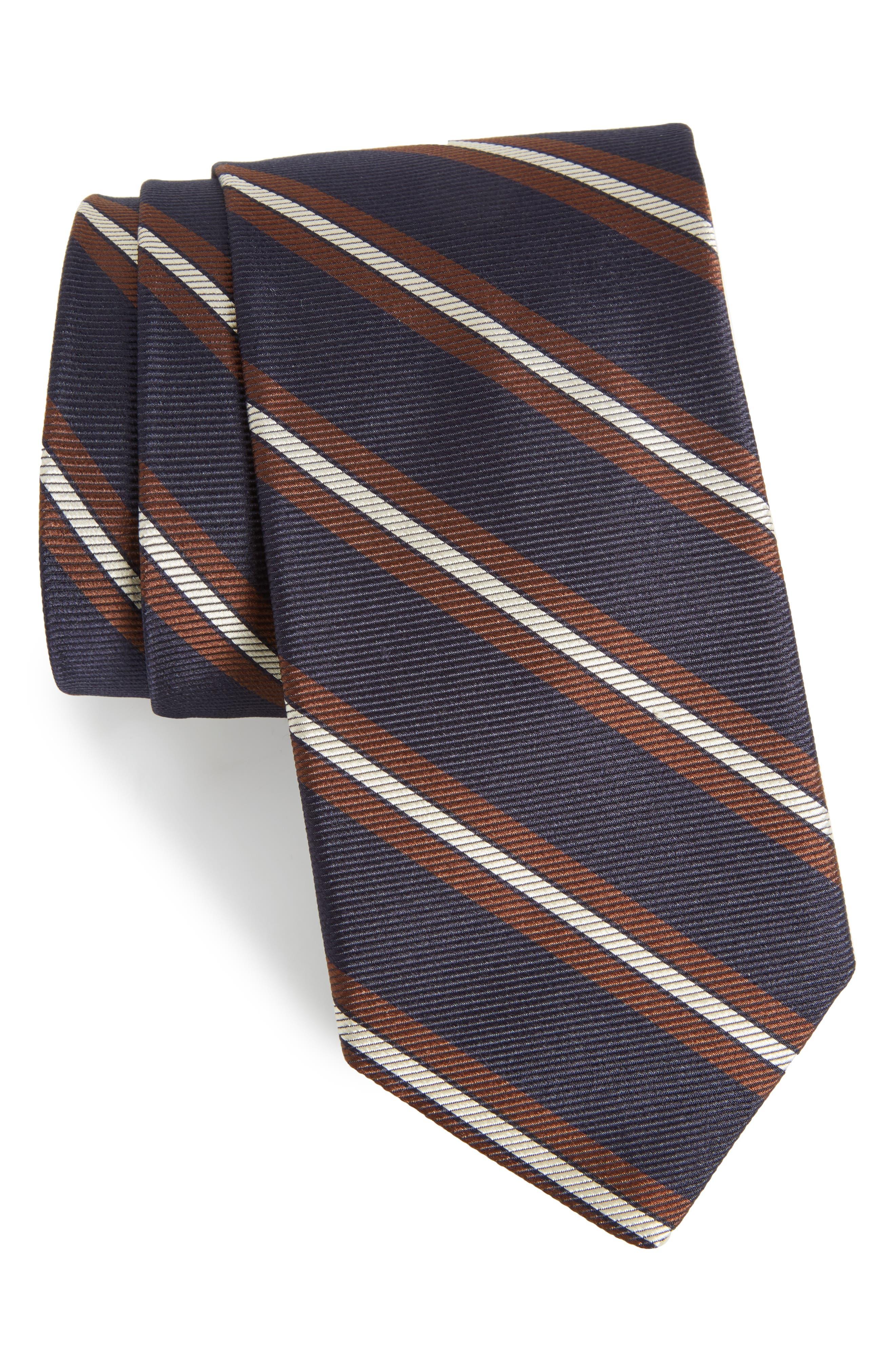Stripe Silk Tie,                             Main thumbnail 1, color,                             Huron Stripe