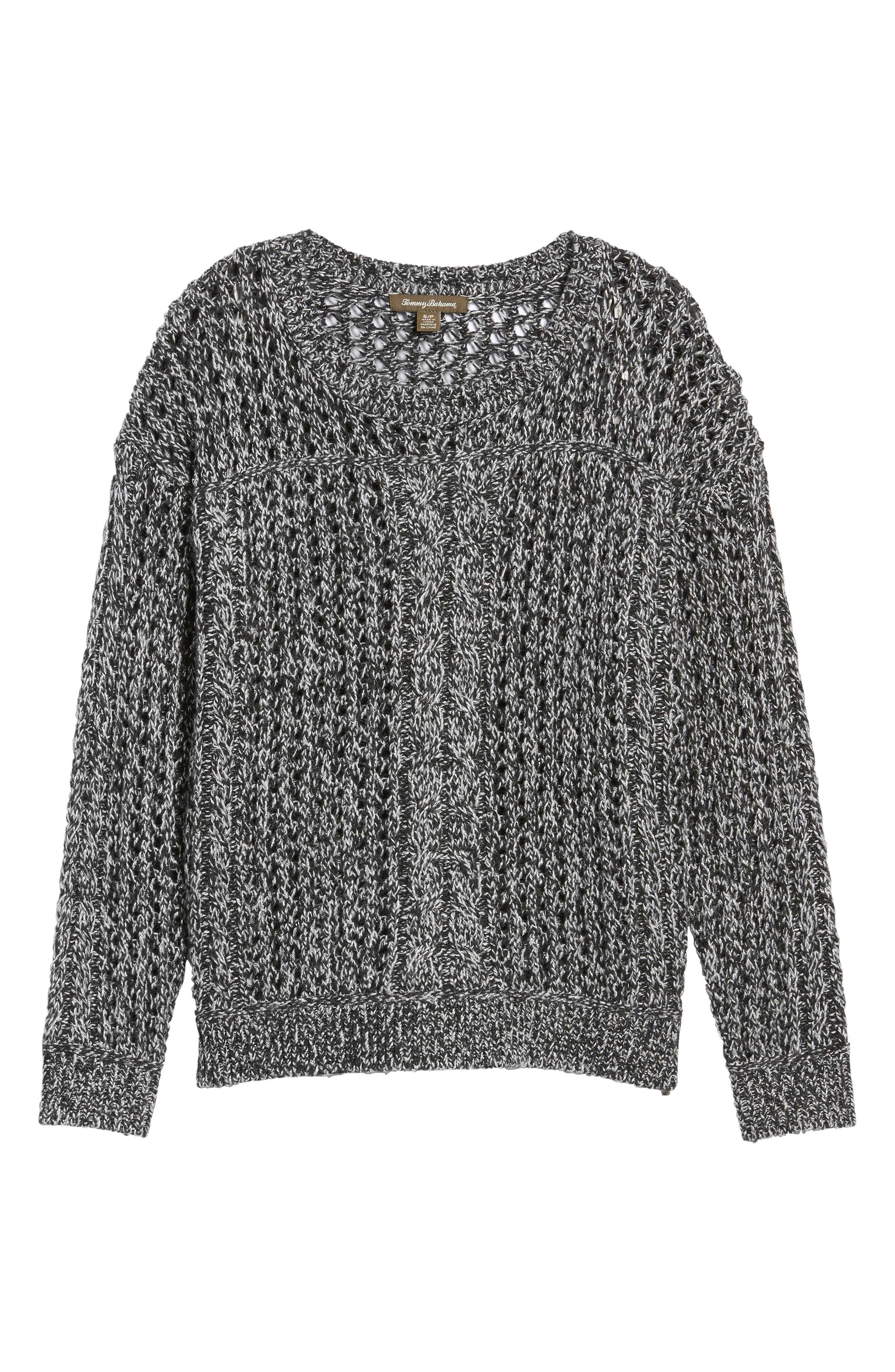 Cascade Cable Sparkle Crew Sweater,                             Alternate thumbnail 6, color,                             Charcoal Heather