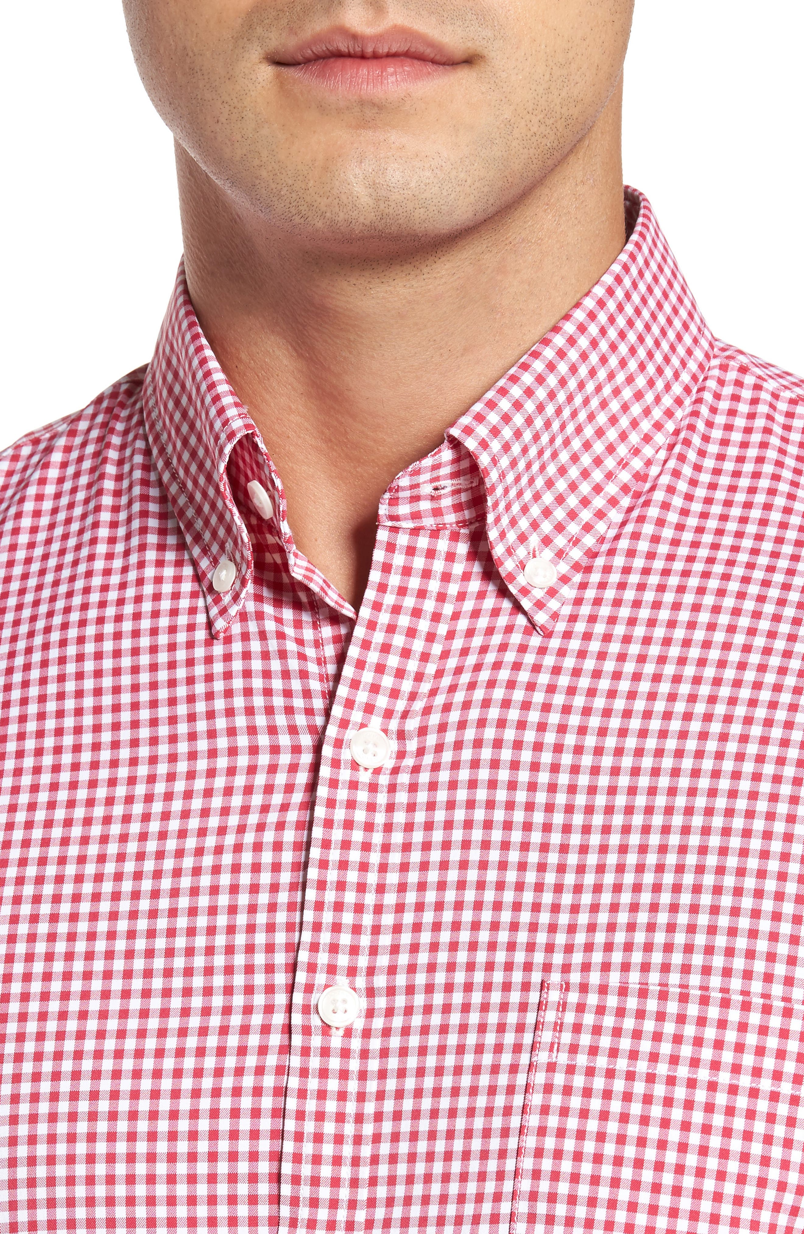 Ramsey Easy Care Gingham Sport Shirt,                             Alternate thumbnail 4, color,                             Pompei Pink