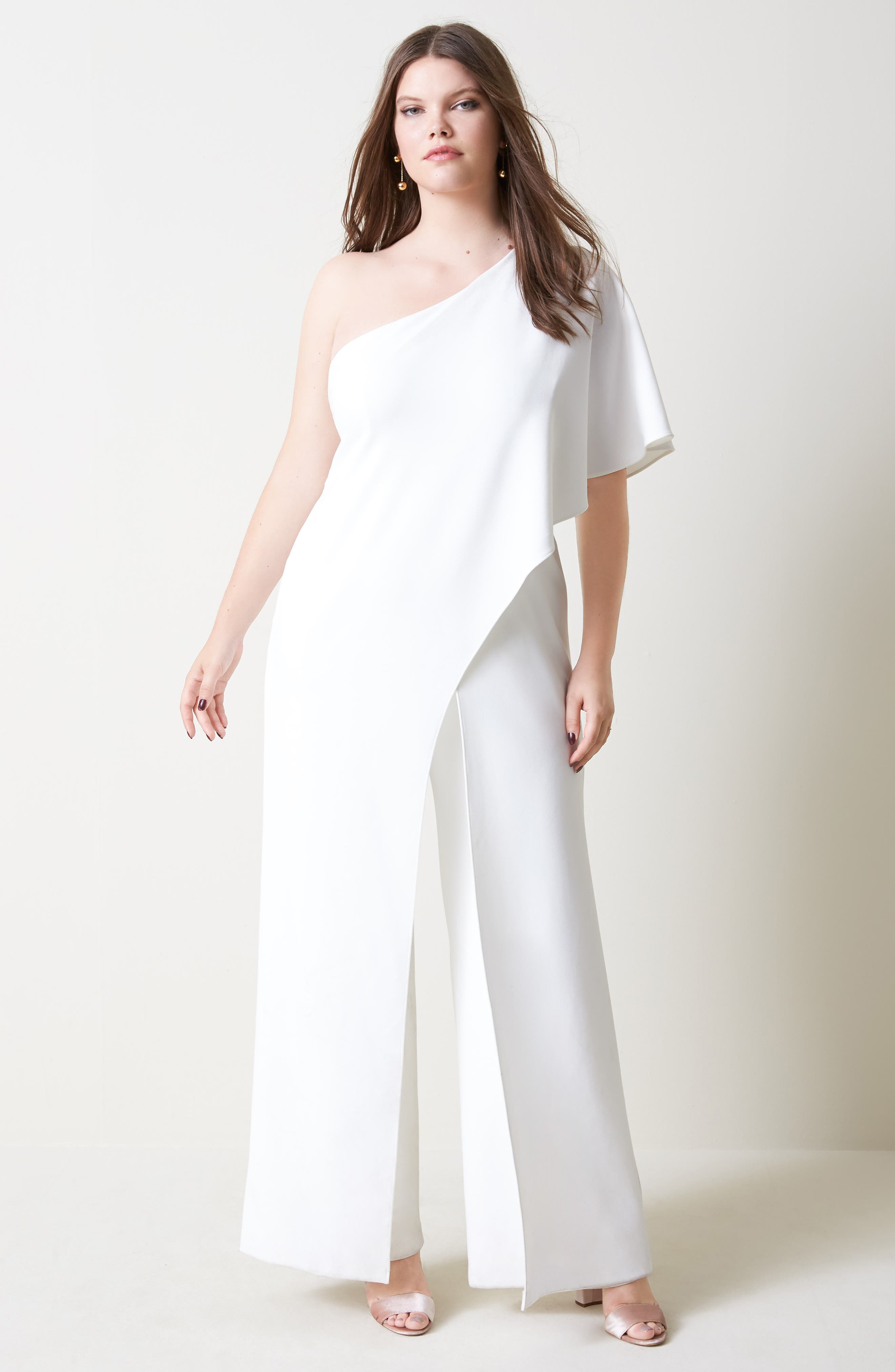 Alternate Image 2  - Adrianna Papell One-Shoulder Jumpsuit (Plus Size)
