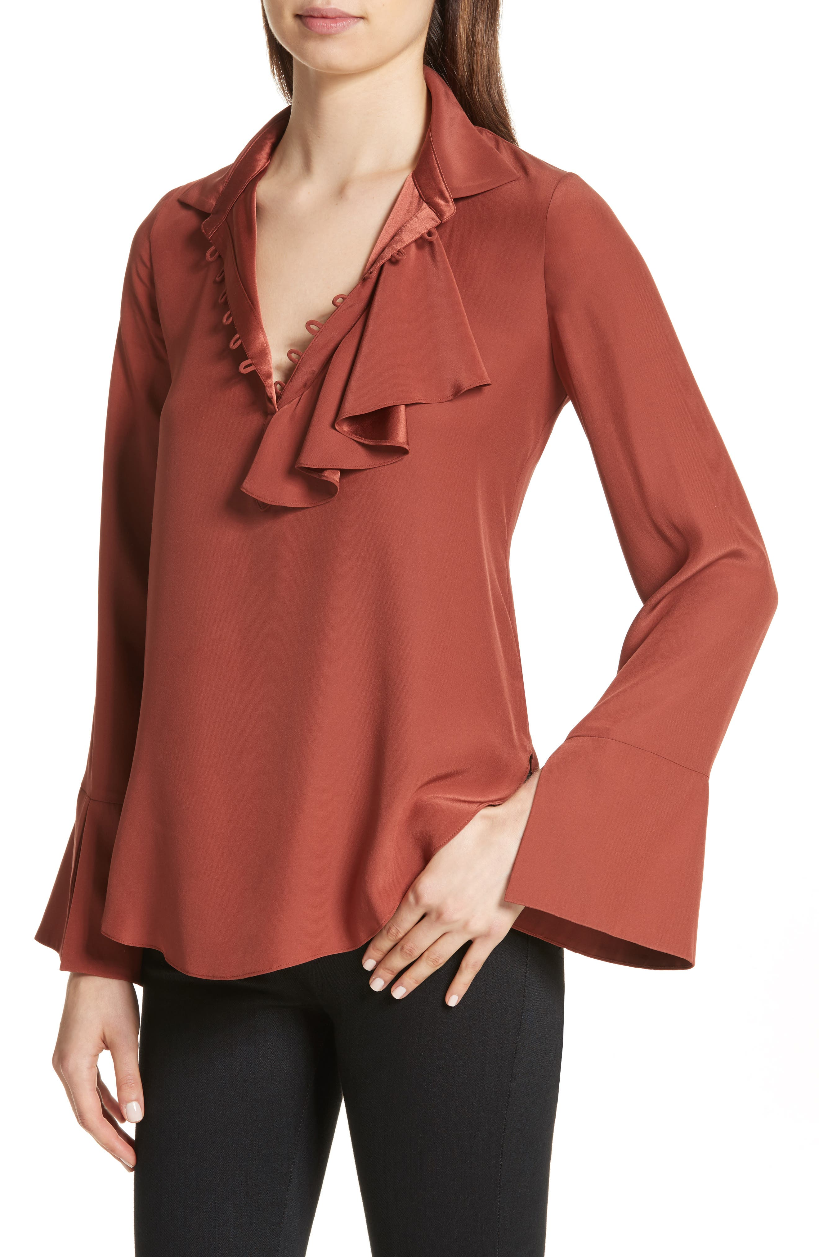 Norla Silk Bow Blouse,                             Alternate thumbnail 4, color,                             Tobacco